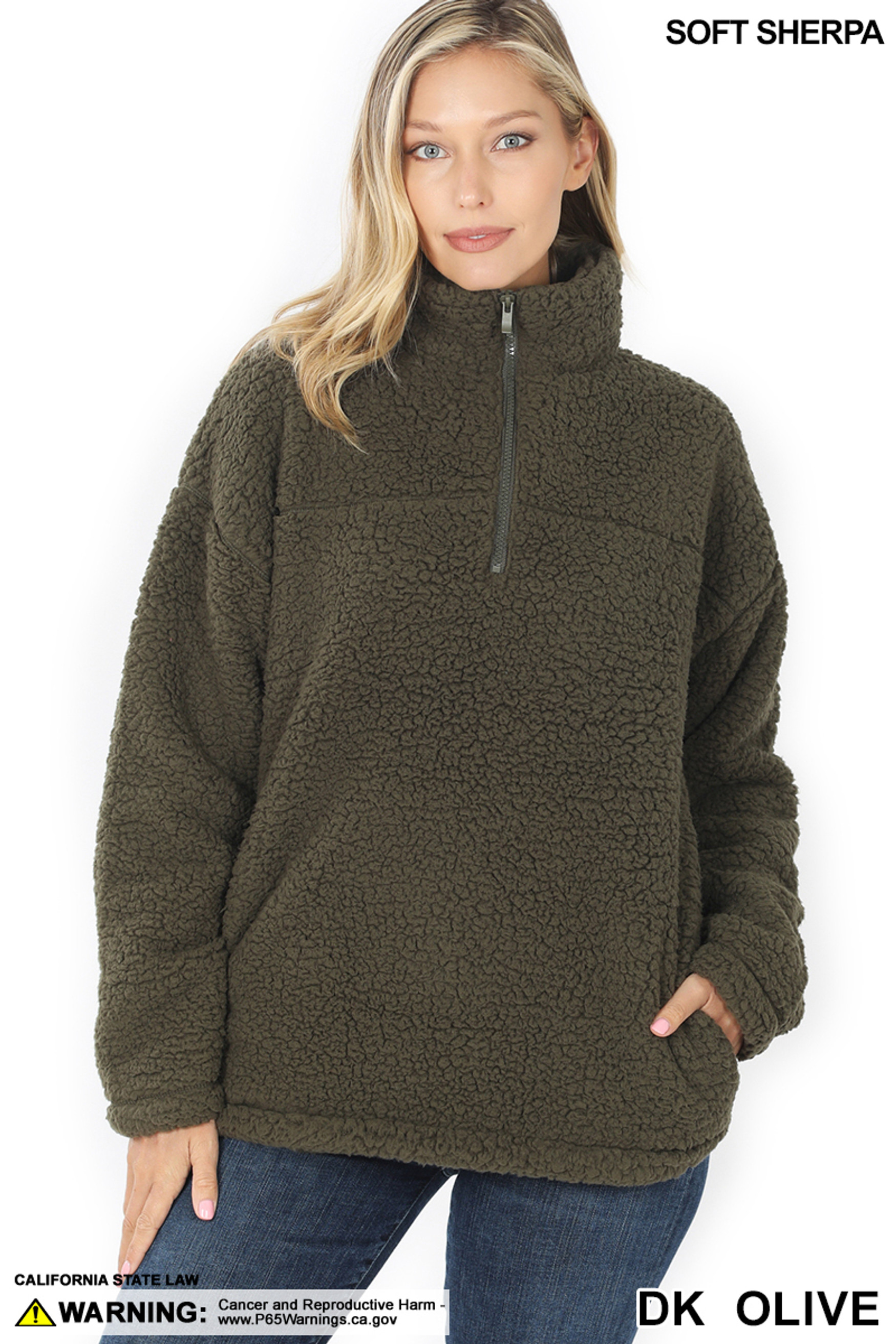 Front image of Dark Olive Sherpa Half Zip Pullover with Side Pockets
