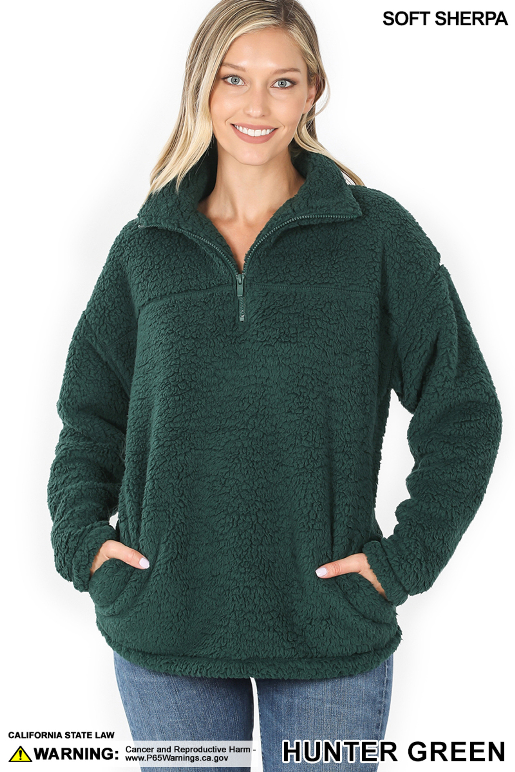 Front image of  Hunter Sherpa Half Zip Pullover with Side Pockets
