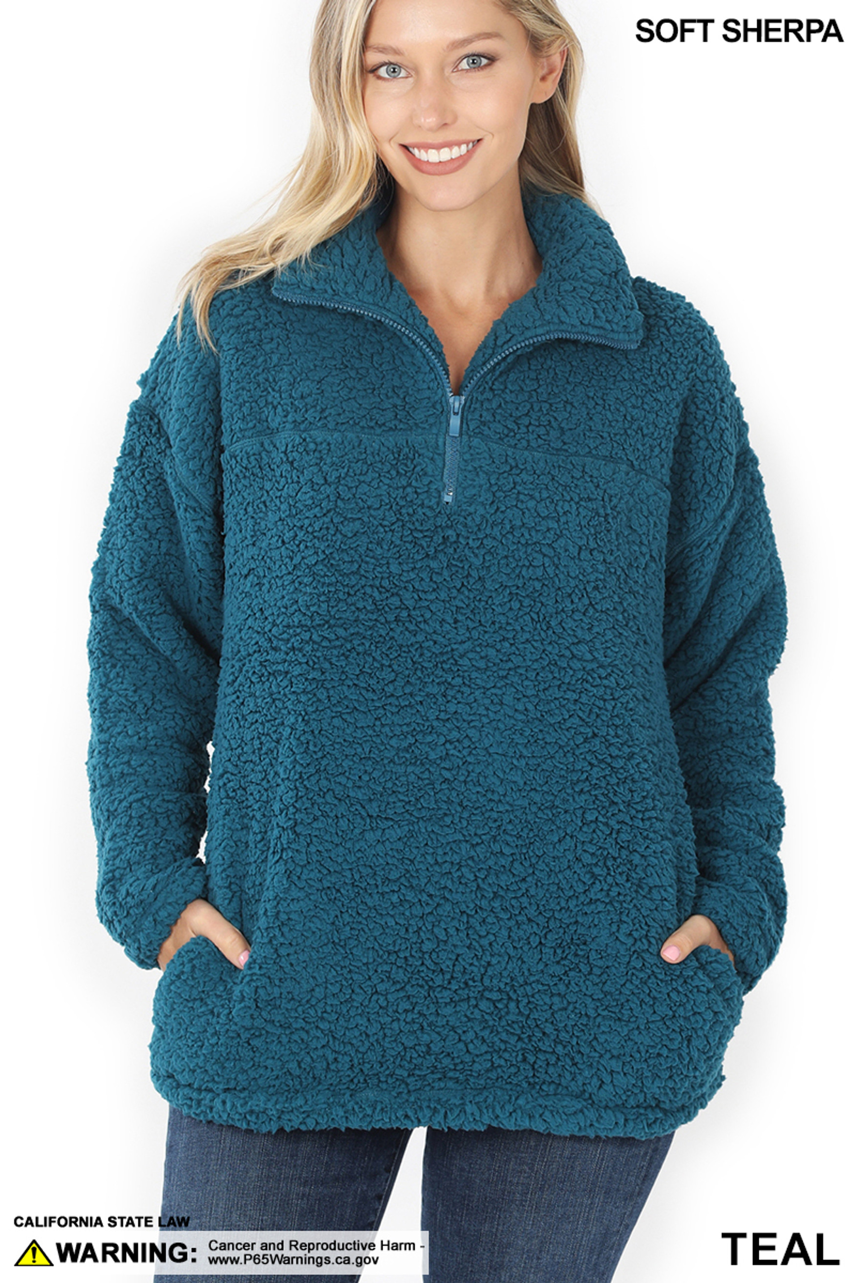 Front image of Teal Sherpa Half Zip Pullover with Side Pockets