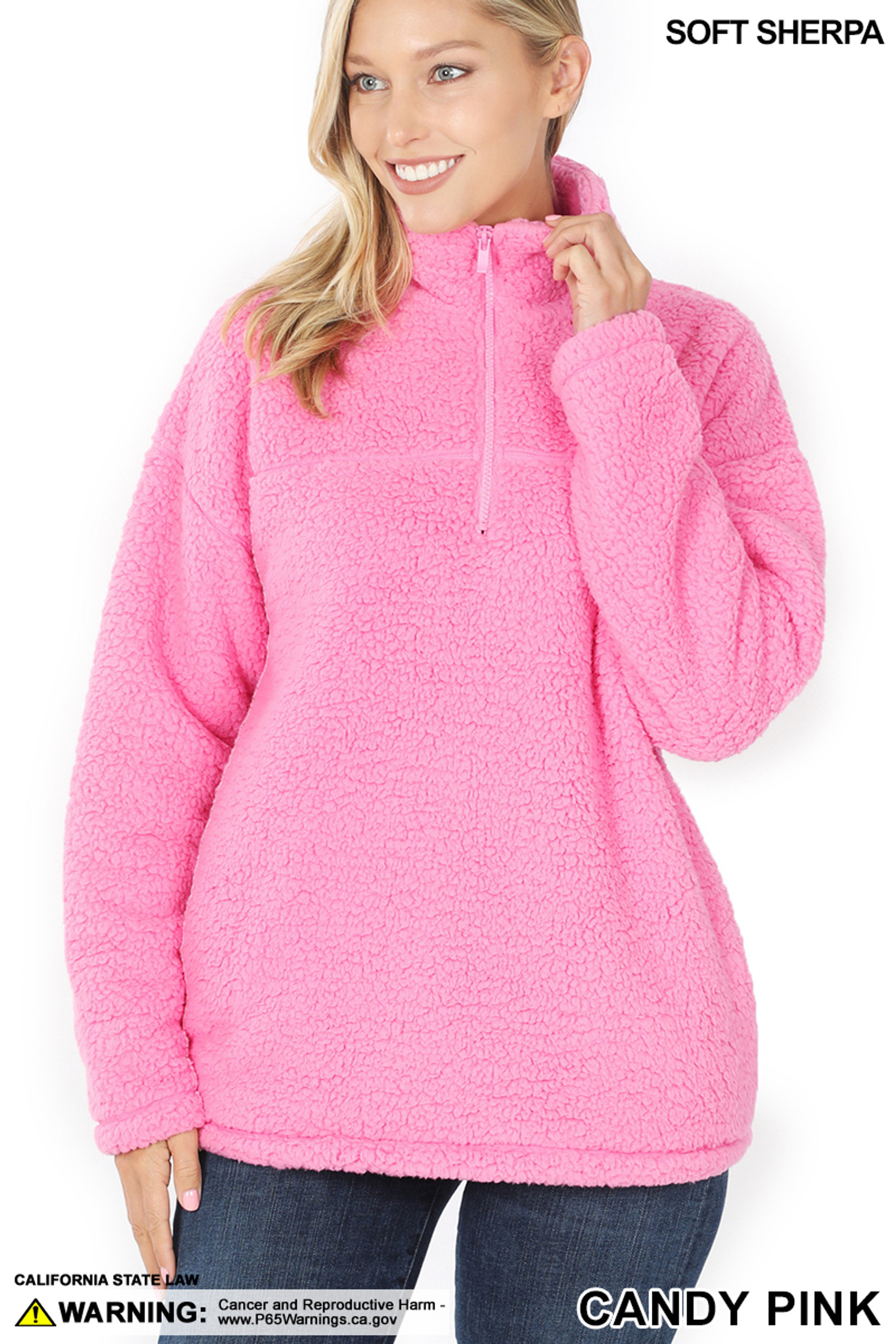 Front image of Candy Pink Sherpa Half Zip Pullover with Side Pockets