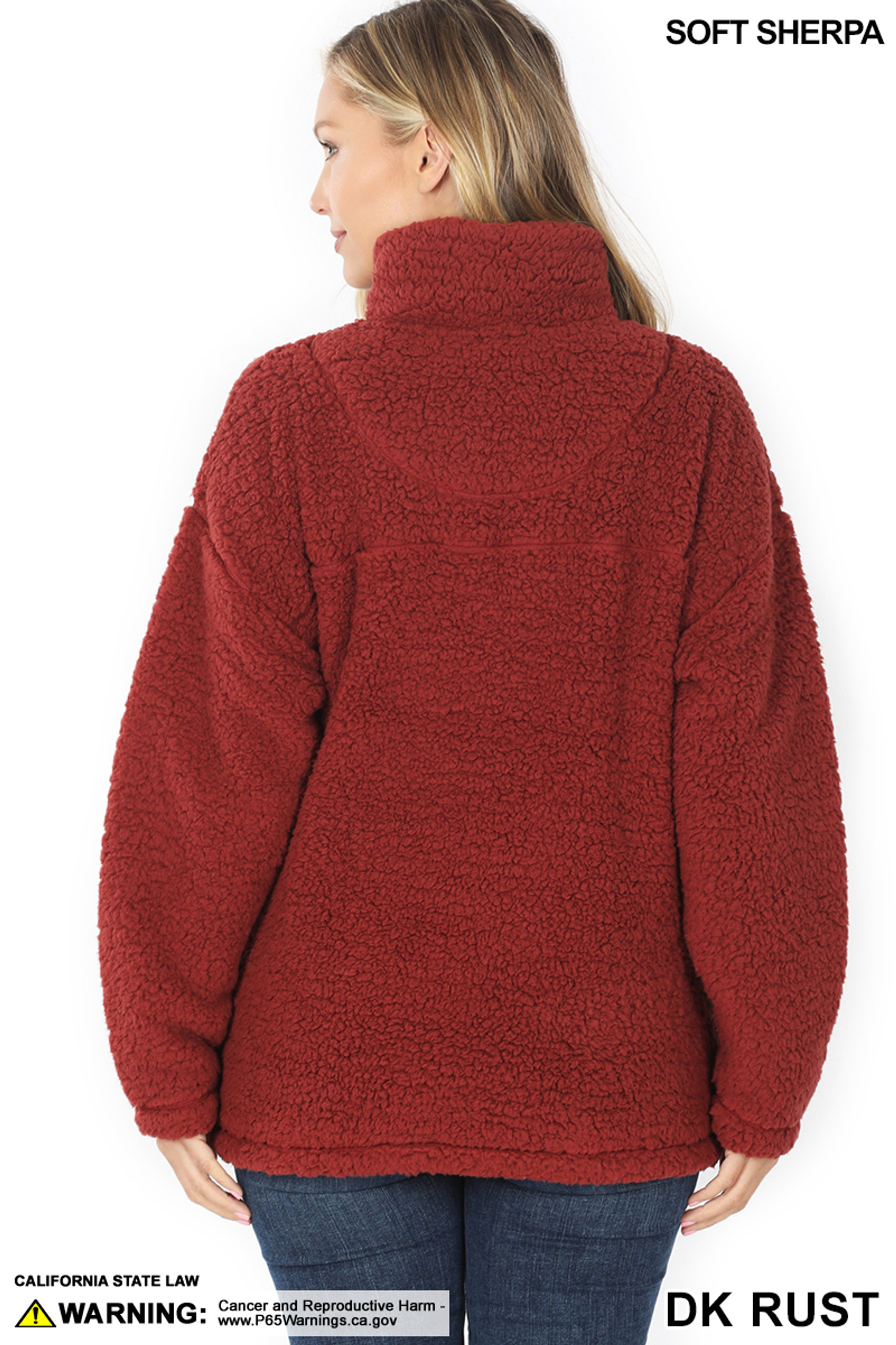 Back side image of Dark Rust Sherpa Half Zip Pullover with Side Pockets