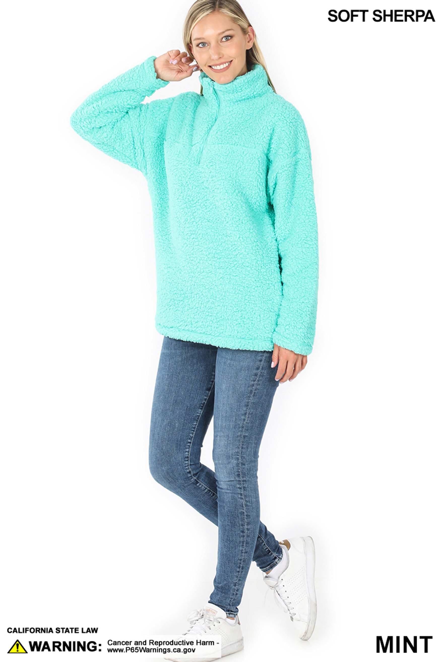 Full body image of Mint Sherpa Half Zip Pullover with Side Pockets