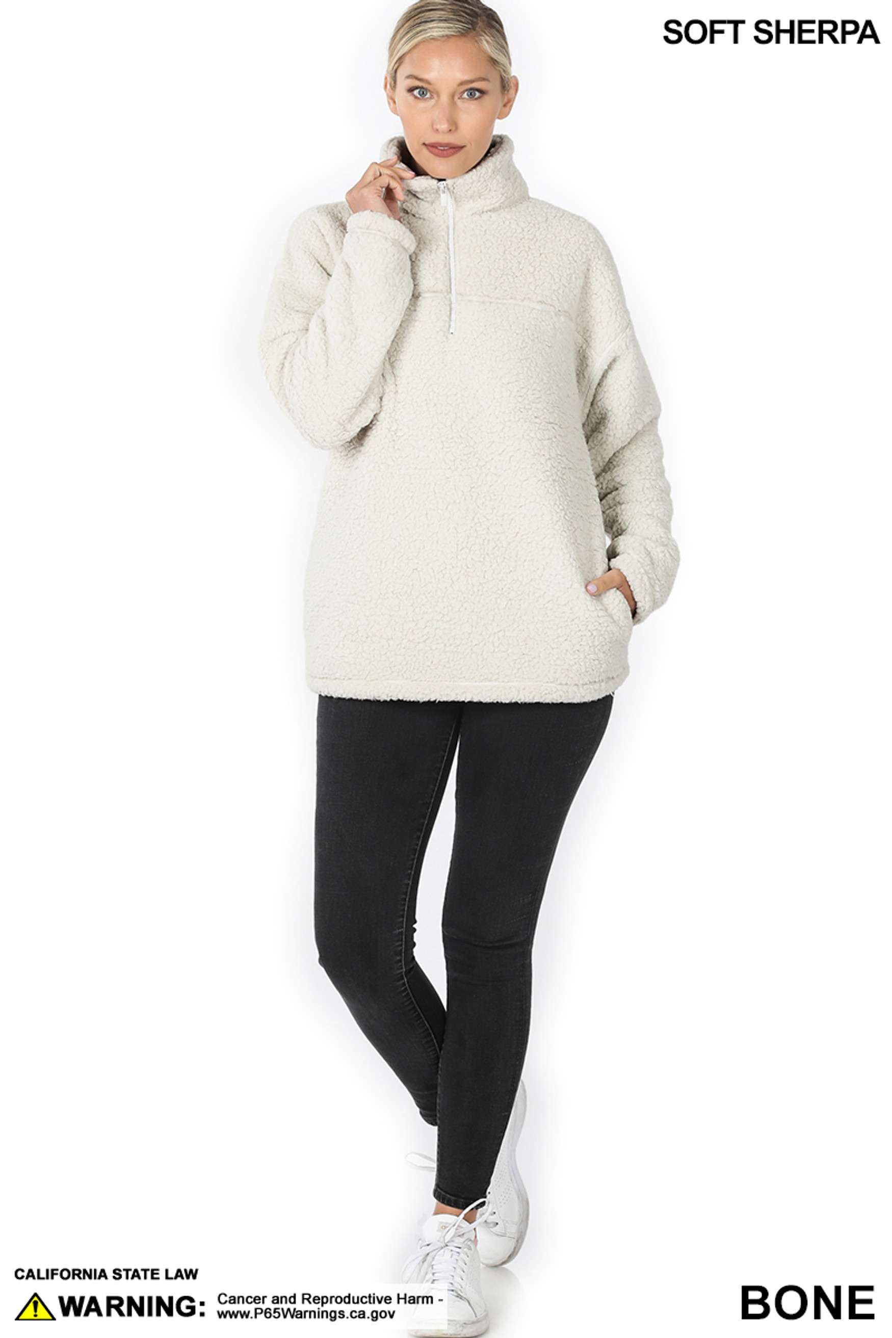 Full body image of Bone Sherpa Half Zip Pullover with Side Pockets