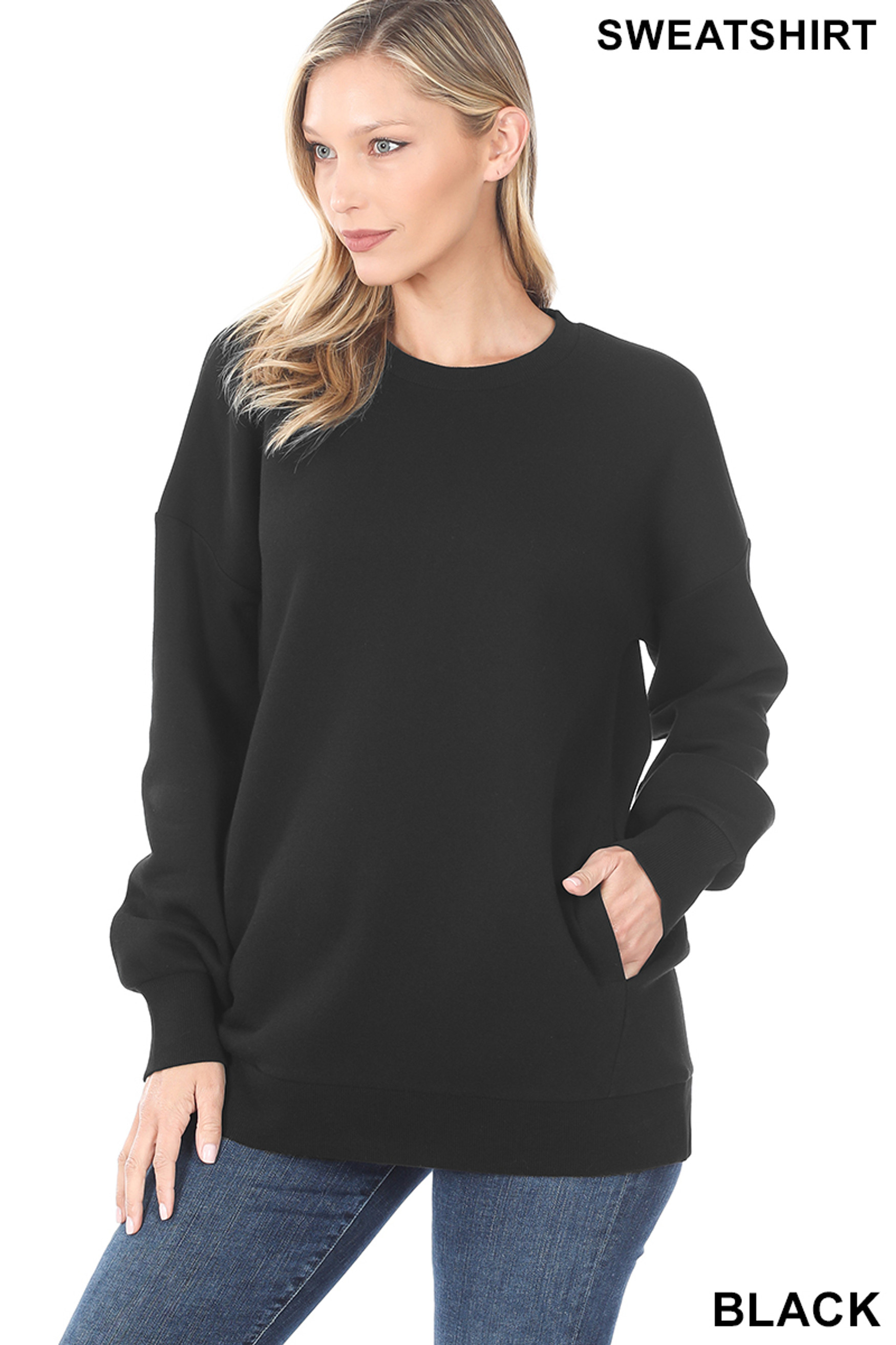Front image of Black Round Crew Neck Sweatshirt with Side Pockets