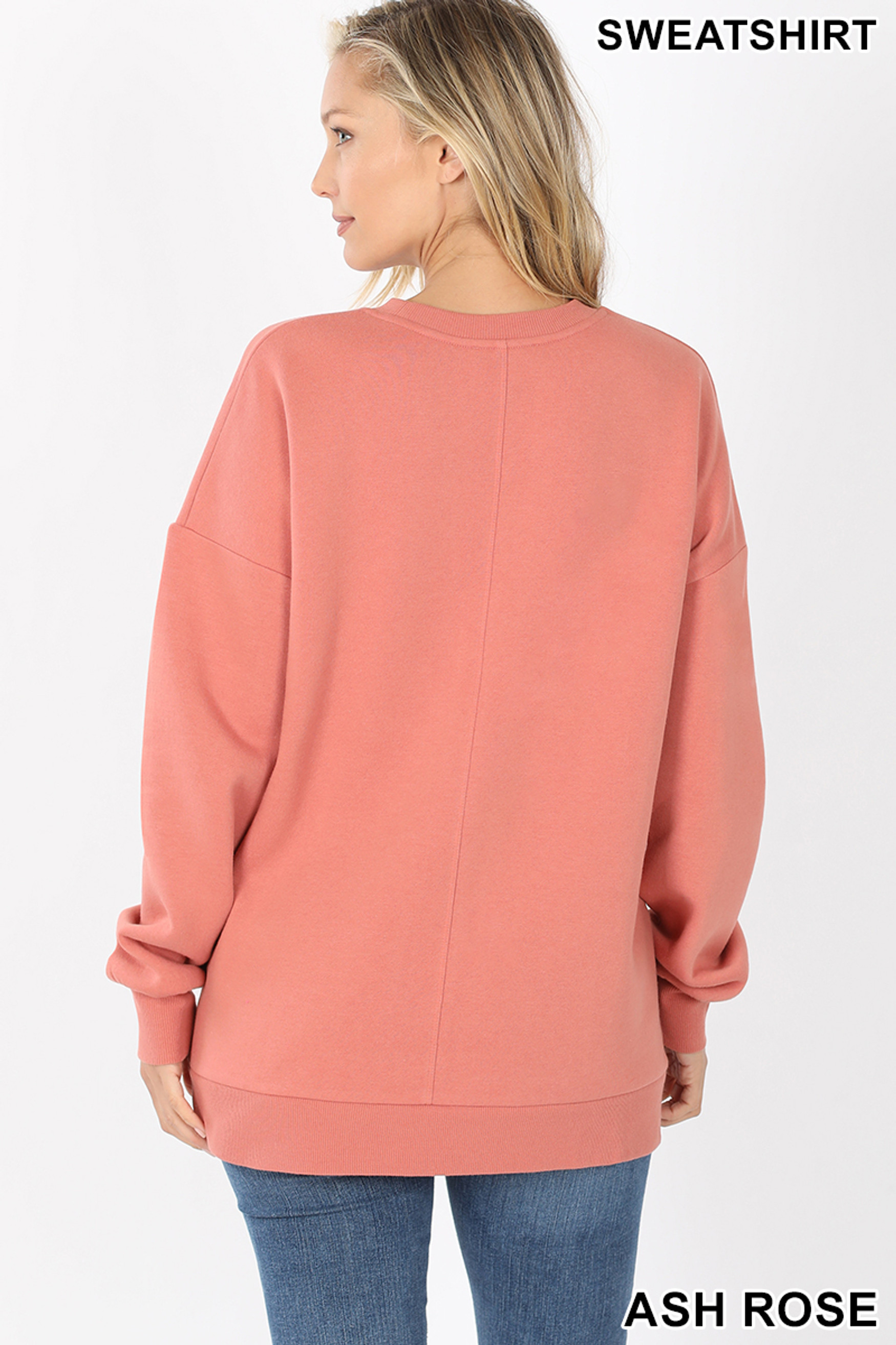 Back image of Ash Rose Round Crew Neck Sweatshirt with Side Pockets