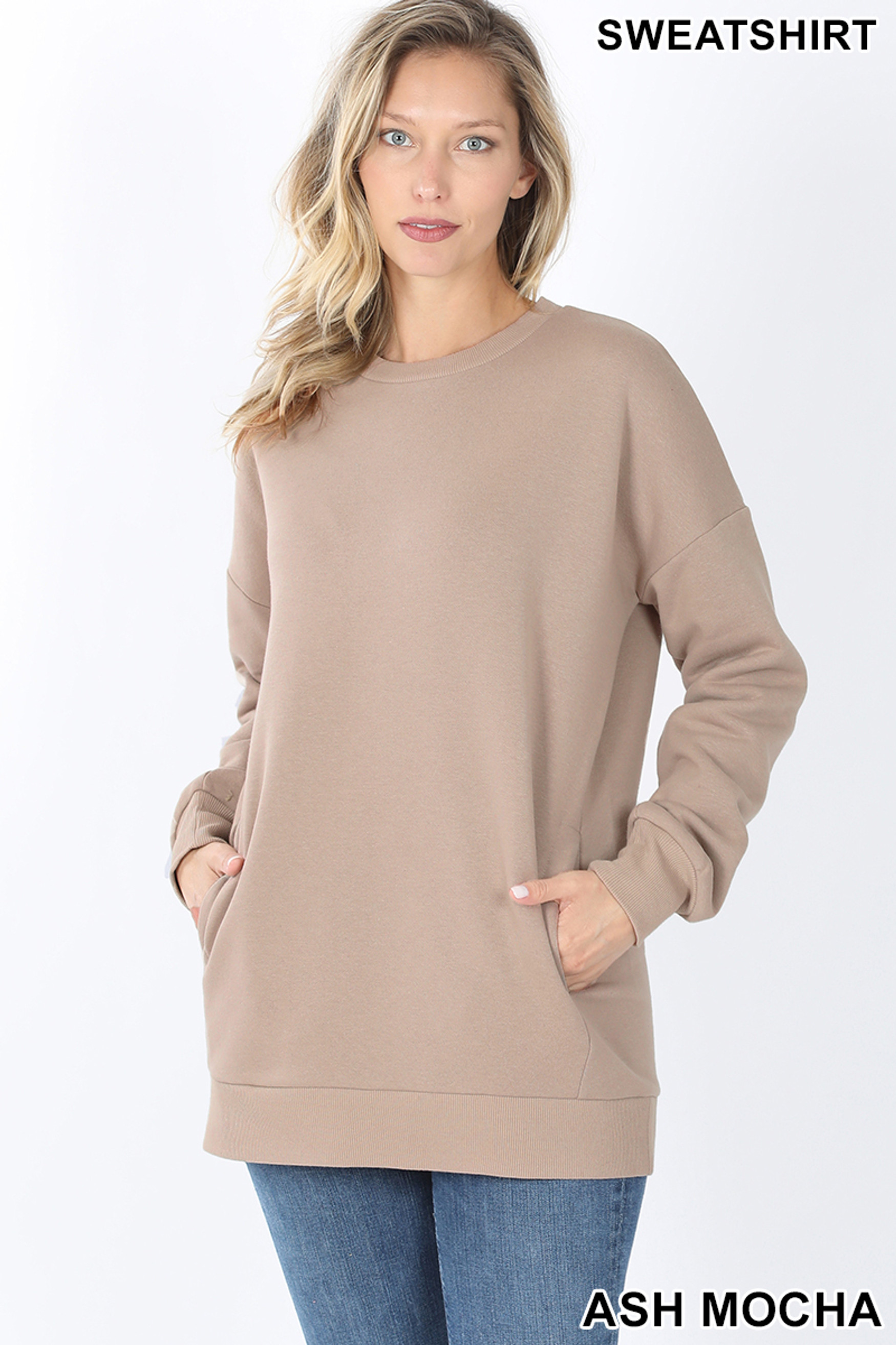 Front image of Ash Mocha Round Crew Neck Sweatshirt with Side Pockets