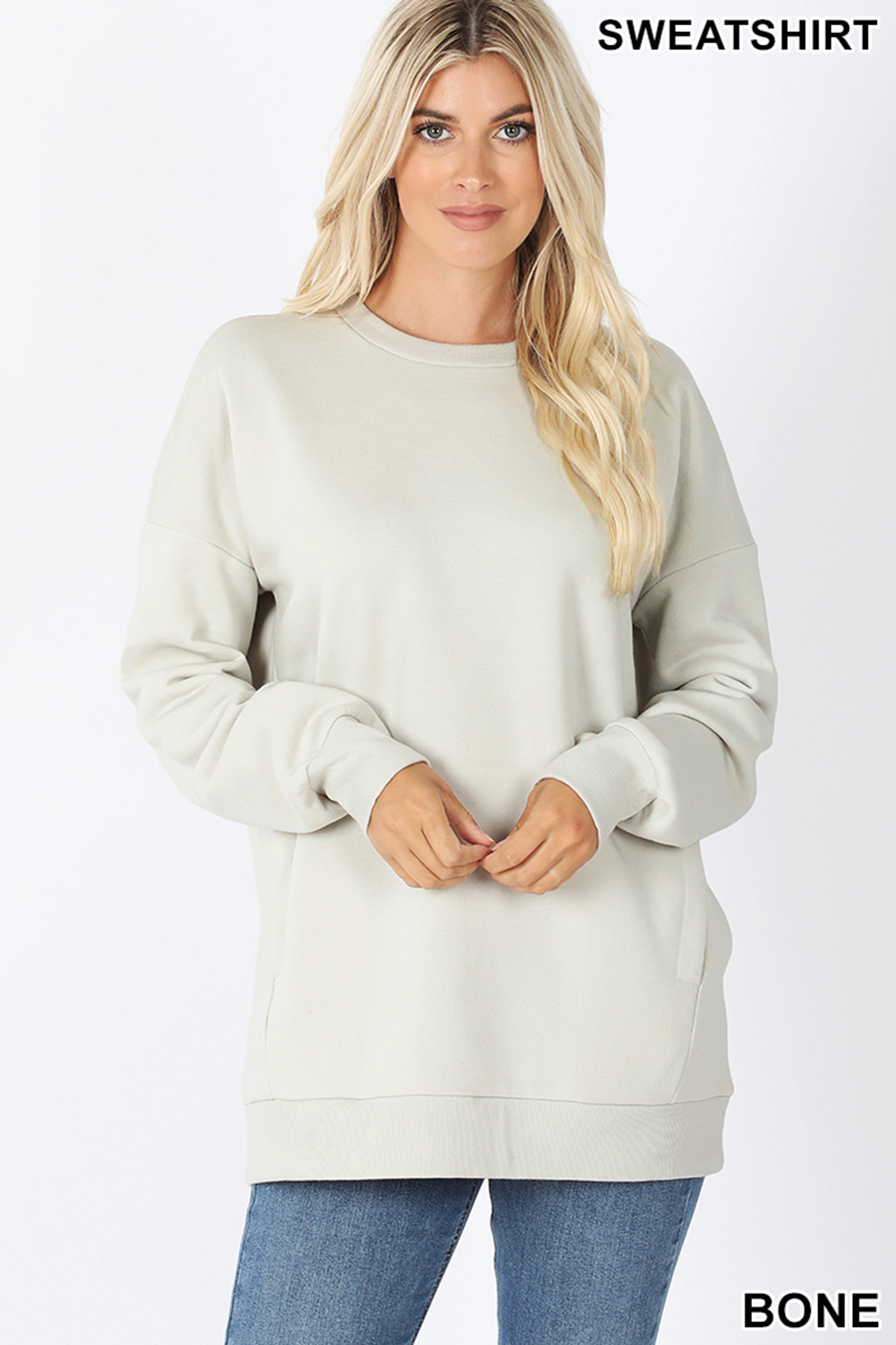 Front image of Bone Round Crew Neck Sweatshirt with Side Pockets