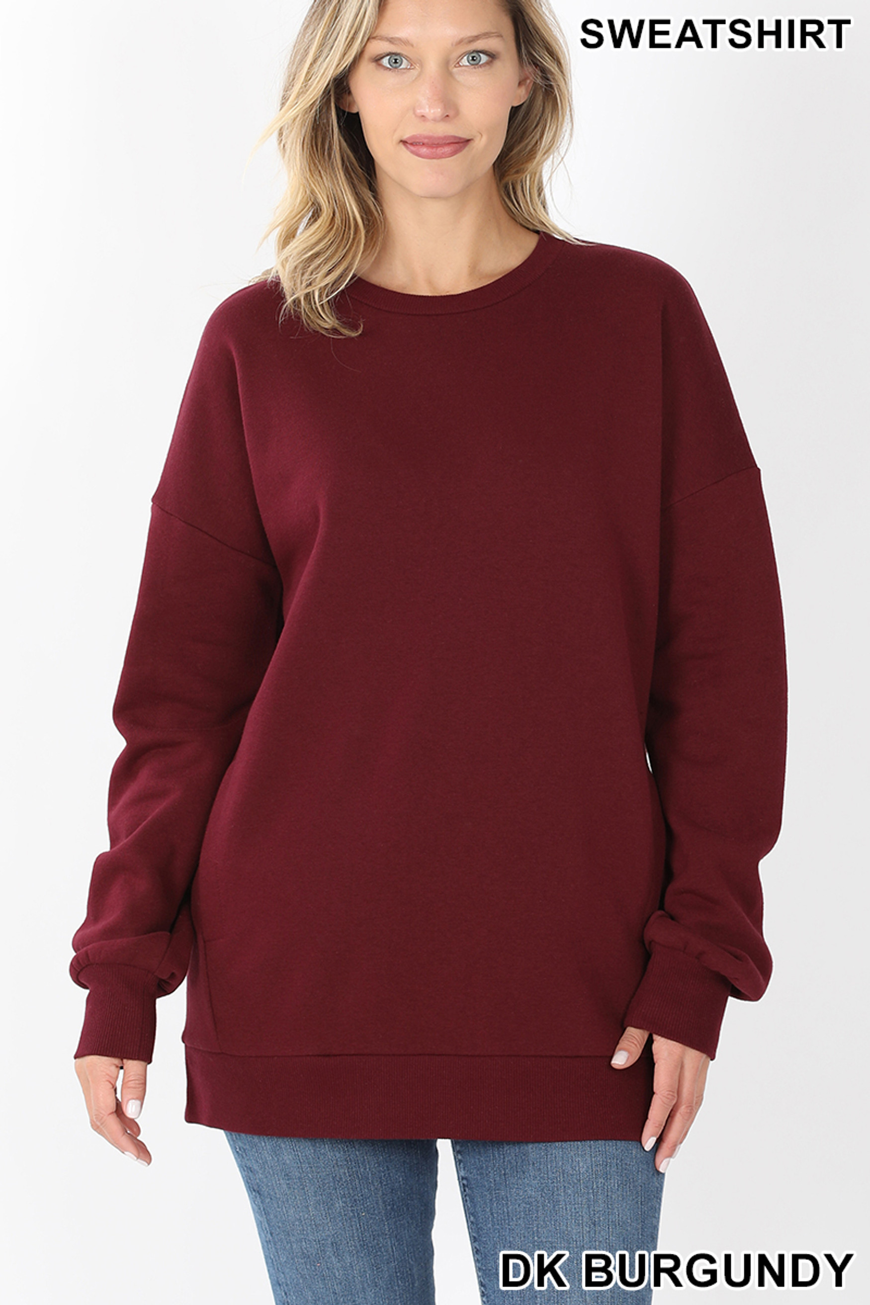 Front image of Dark Burgundy Round Crew Neck Sweatshirt with Side Pockets