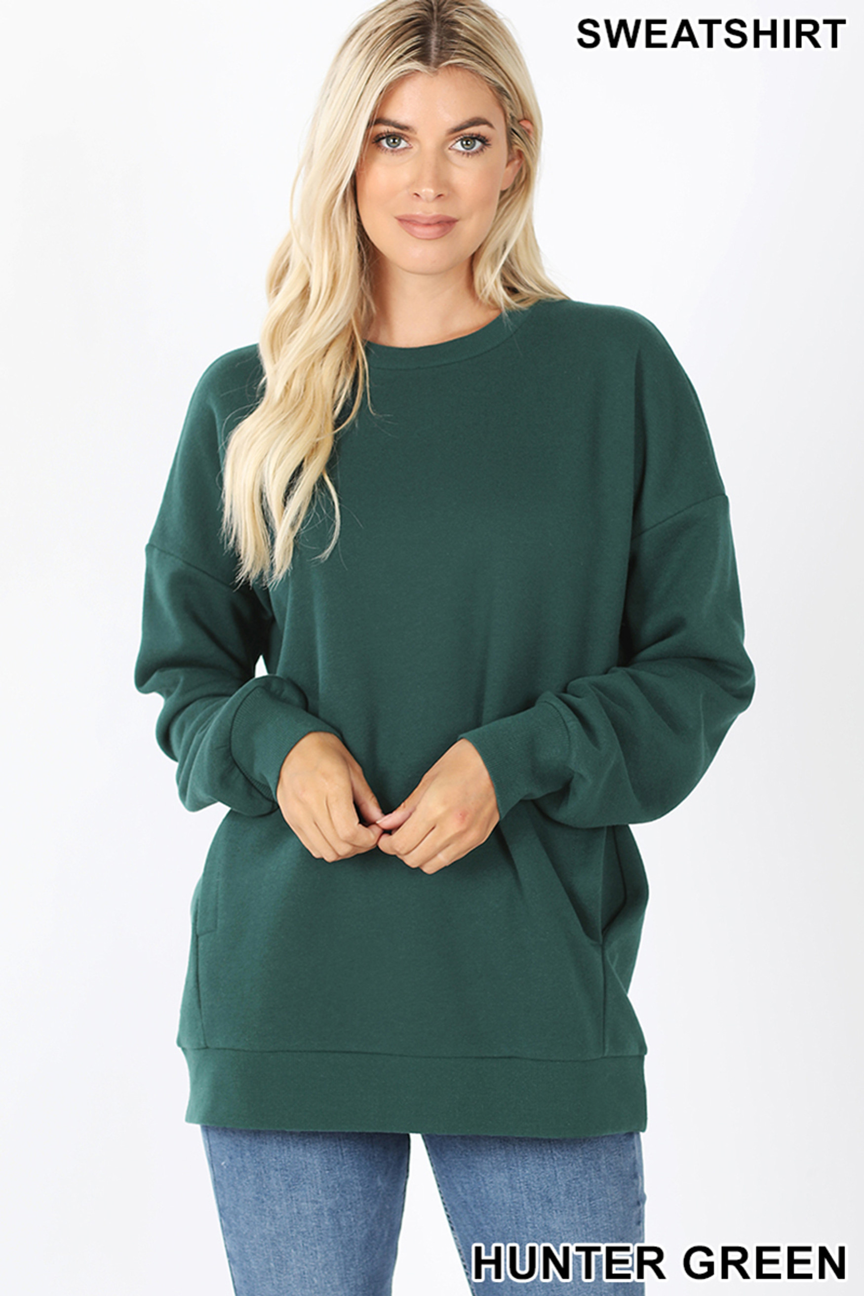 Front image of Hunter Green Round Crew Neck Sweatshirt with Side Pockets