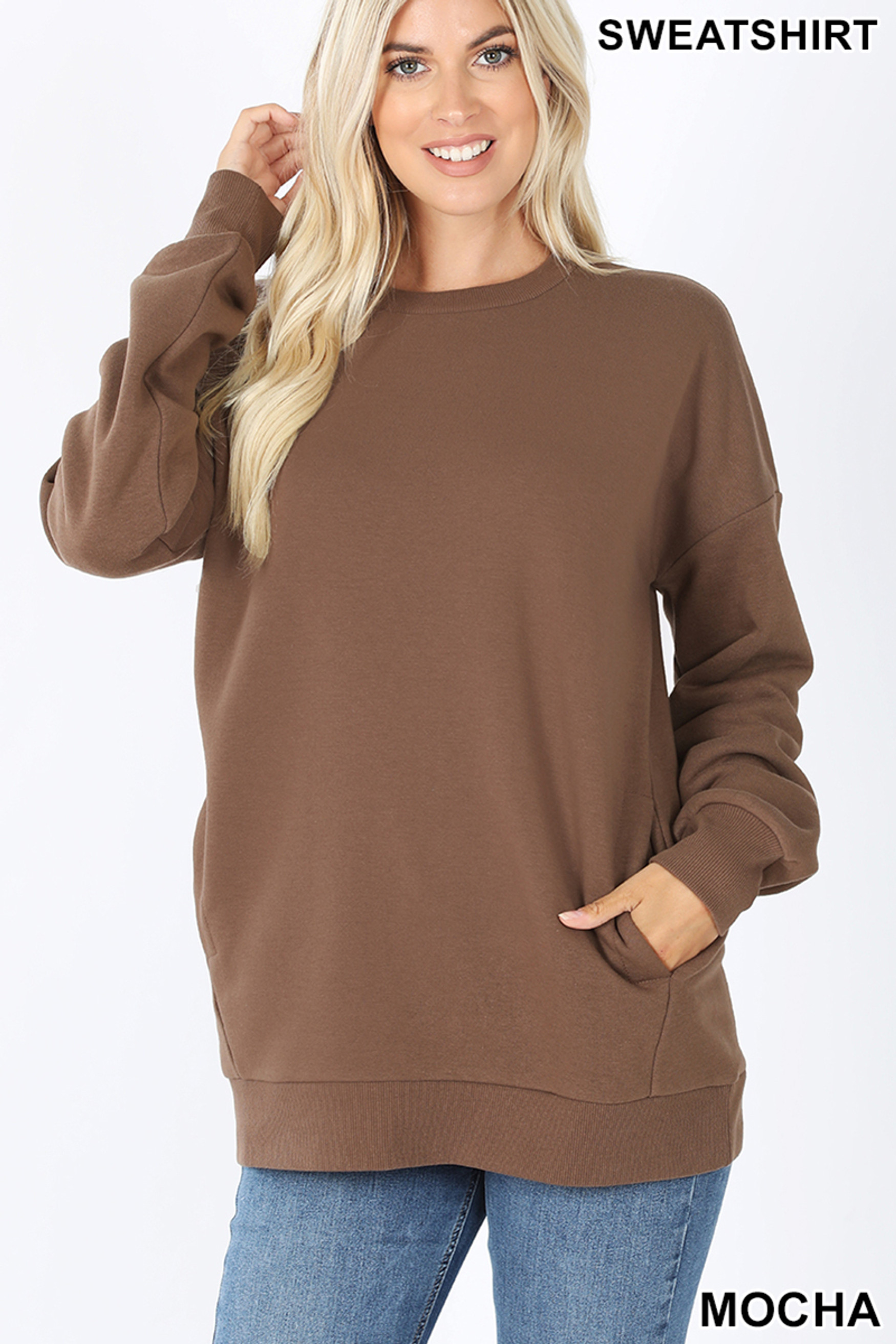 Front image of Mocha Round Crew Neck Sweatshirt with Side Pockets
