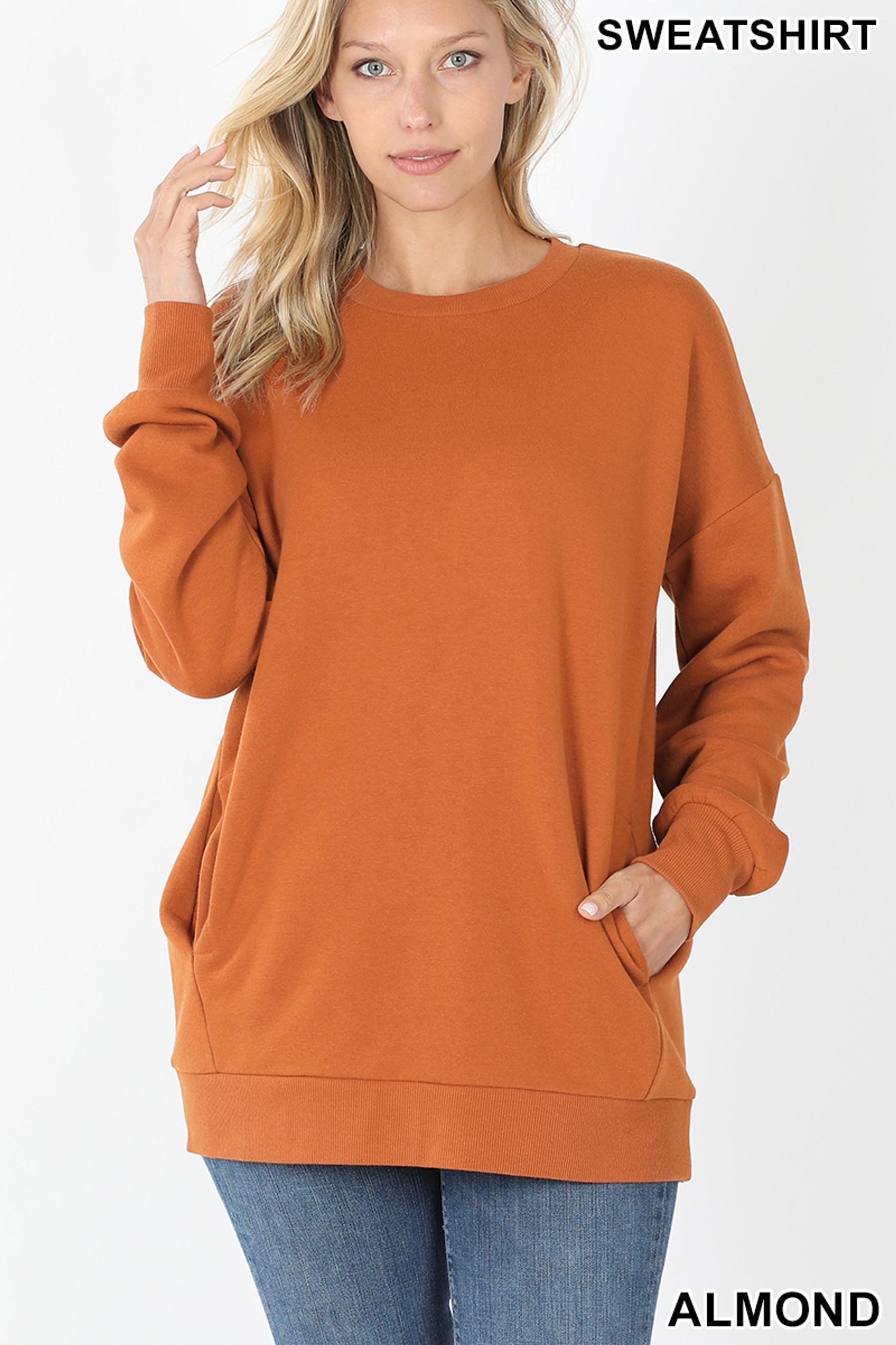 Front image of Almond Round Crew Neck Sweatshirt with Side Pockets