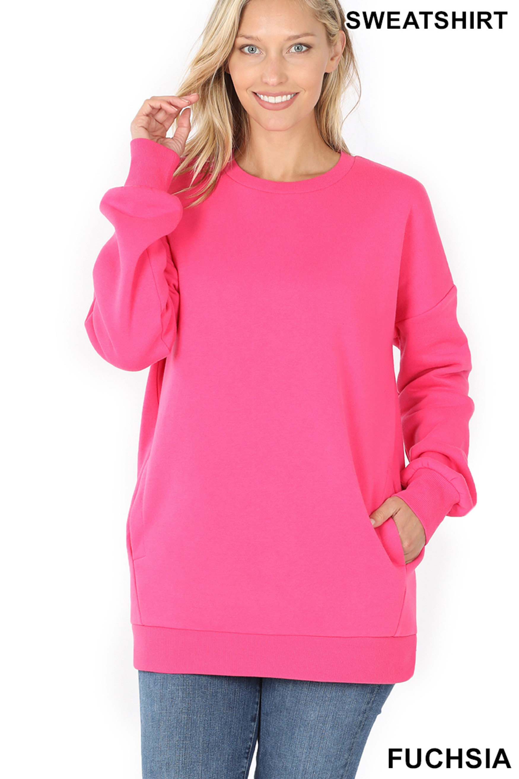 Front image of Fuchsia Round Crew Neck Sweatshirt with Side Pockets