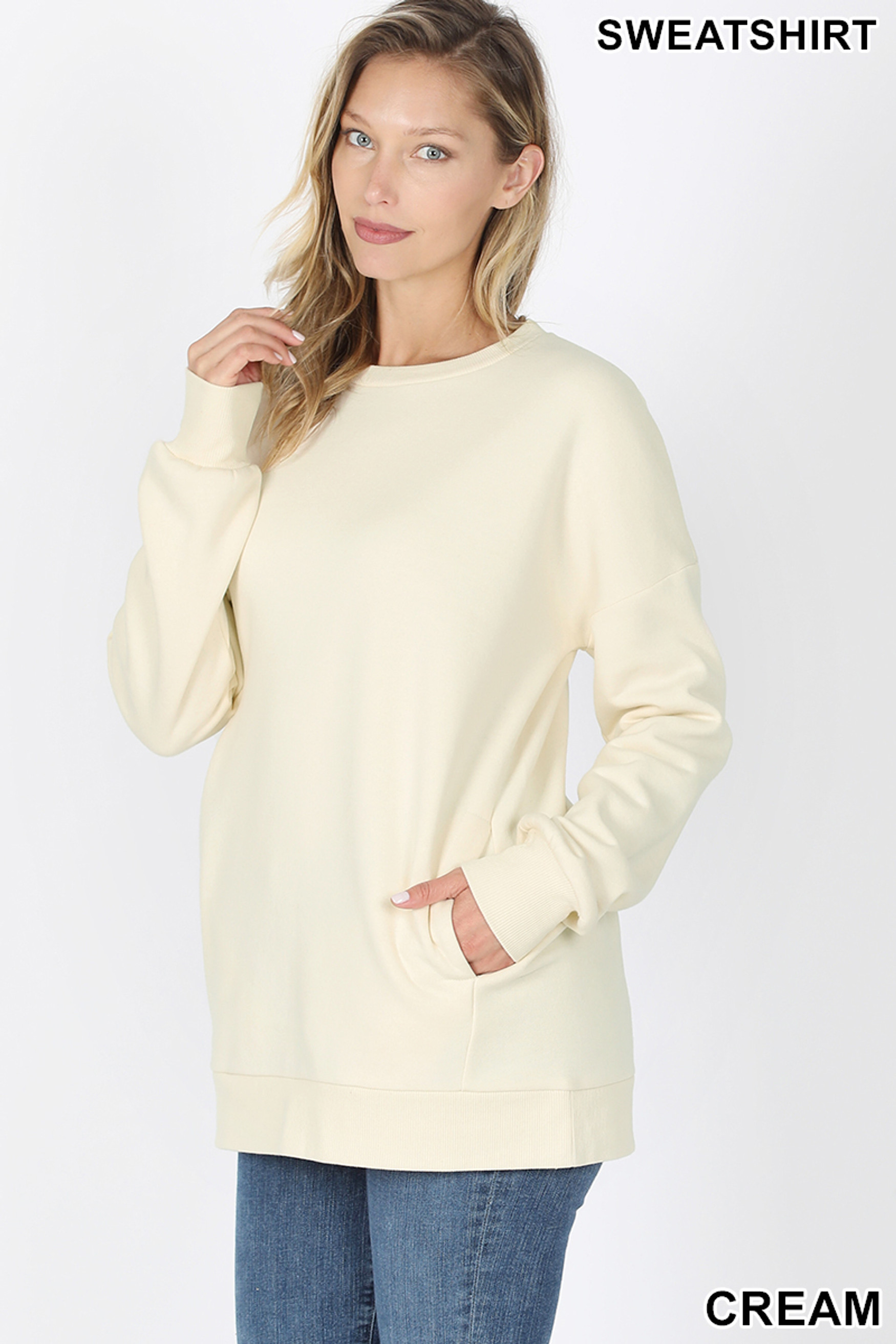 Slightly turned image of Cream Round Crew Neck Sweatshirt with Side Pockets