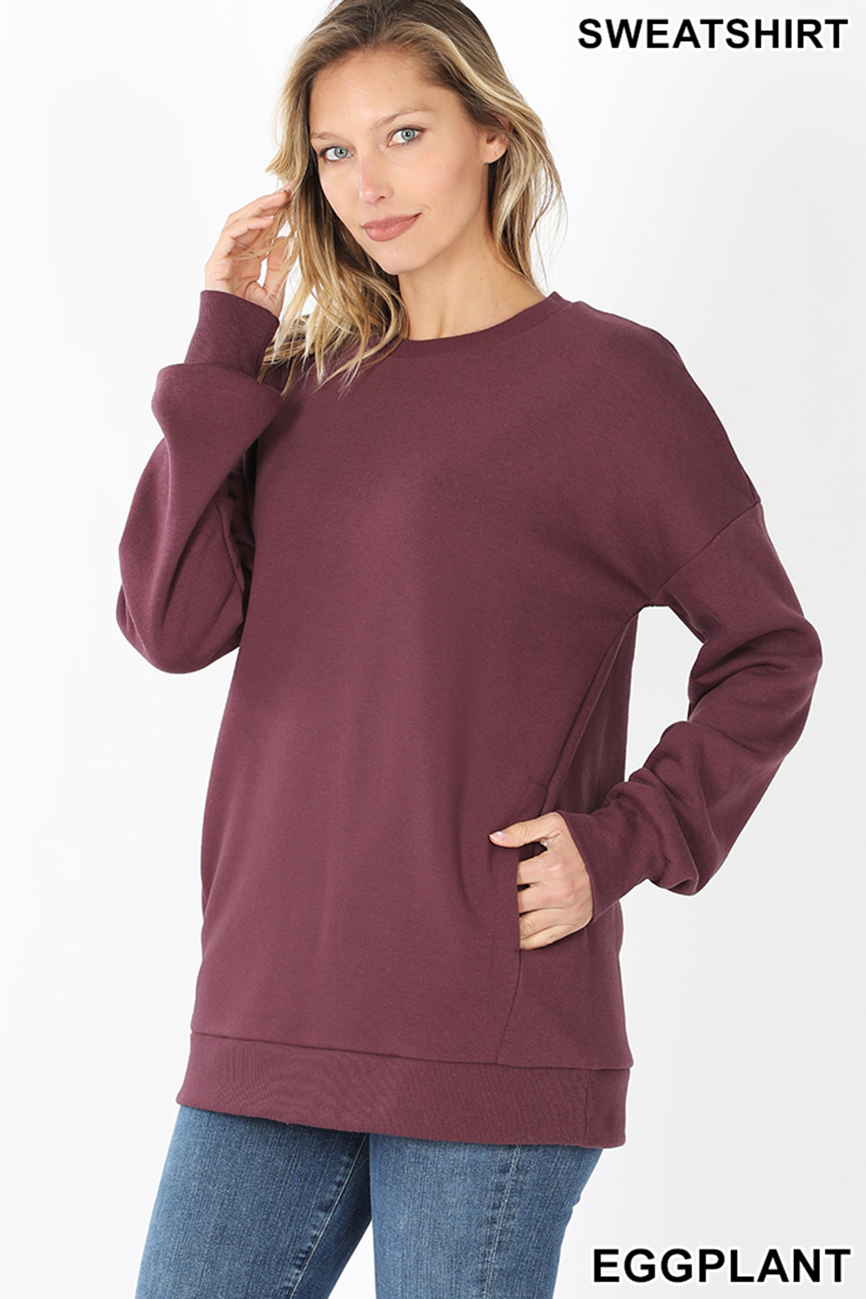 Slightly turned image of Eggplant Round Crew Neck Sweatshirt with Side Pockets