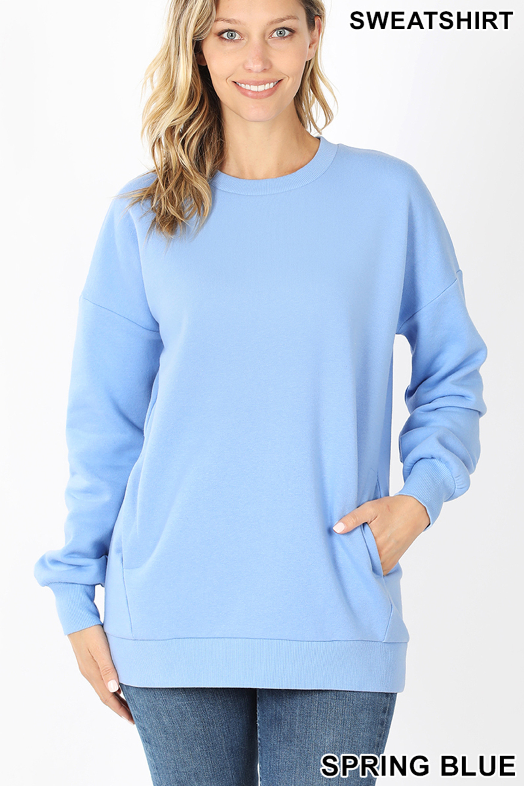 Round Crew Neck Sweatshirt with Side Pockets