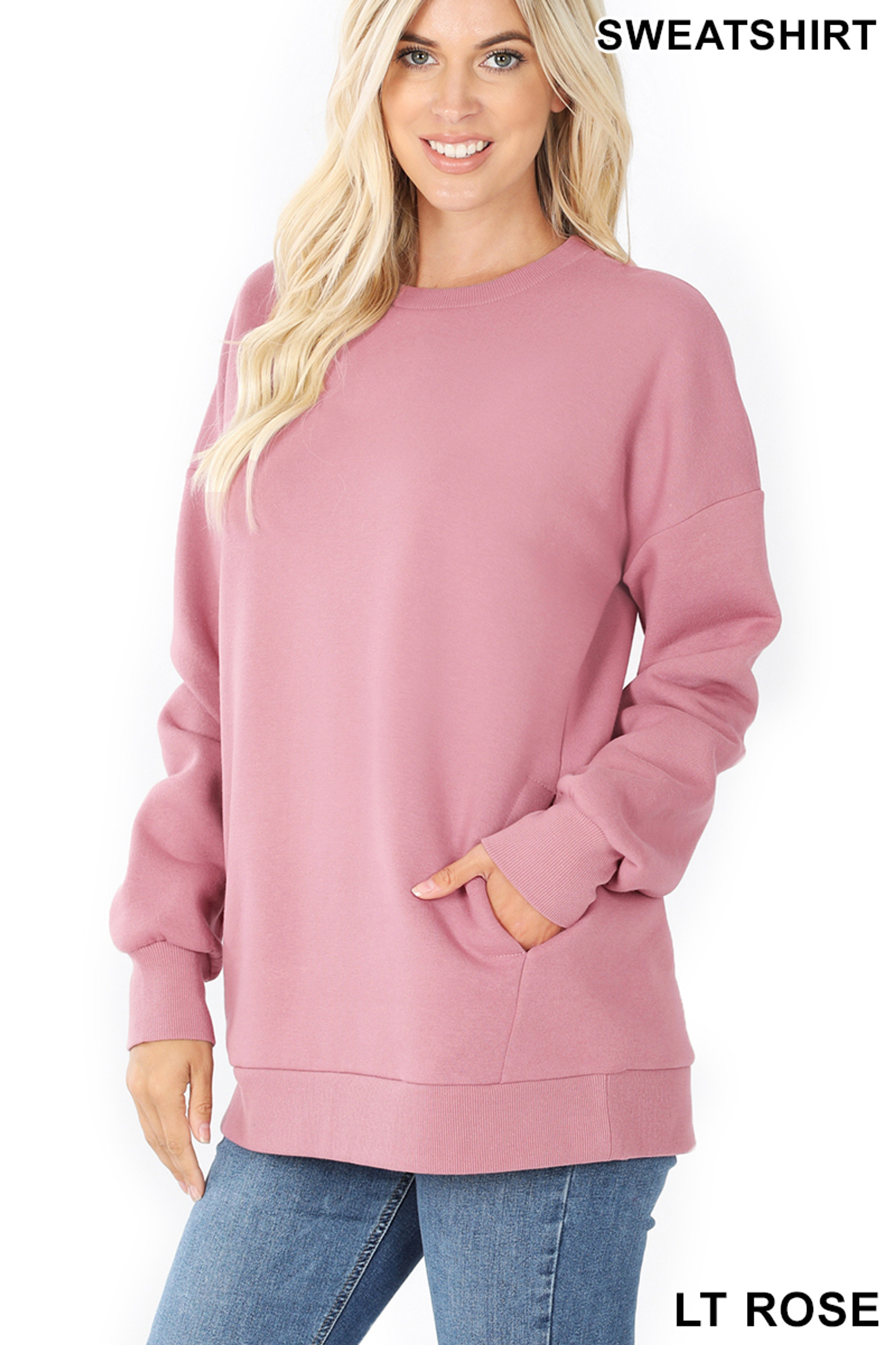 Slightly turned image of Light Rose Round Crew Neck Sweatshirt with Side Pockets