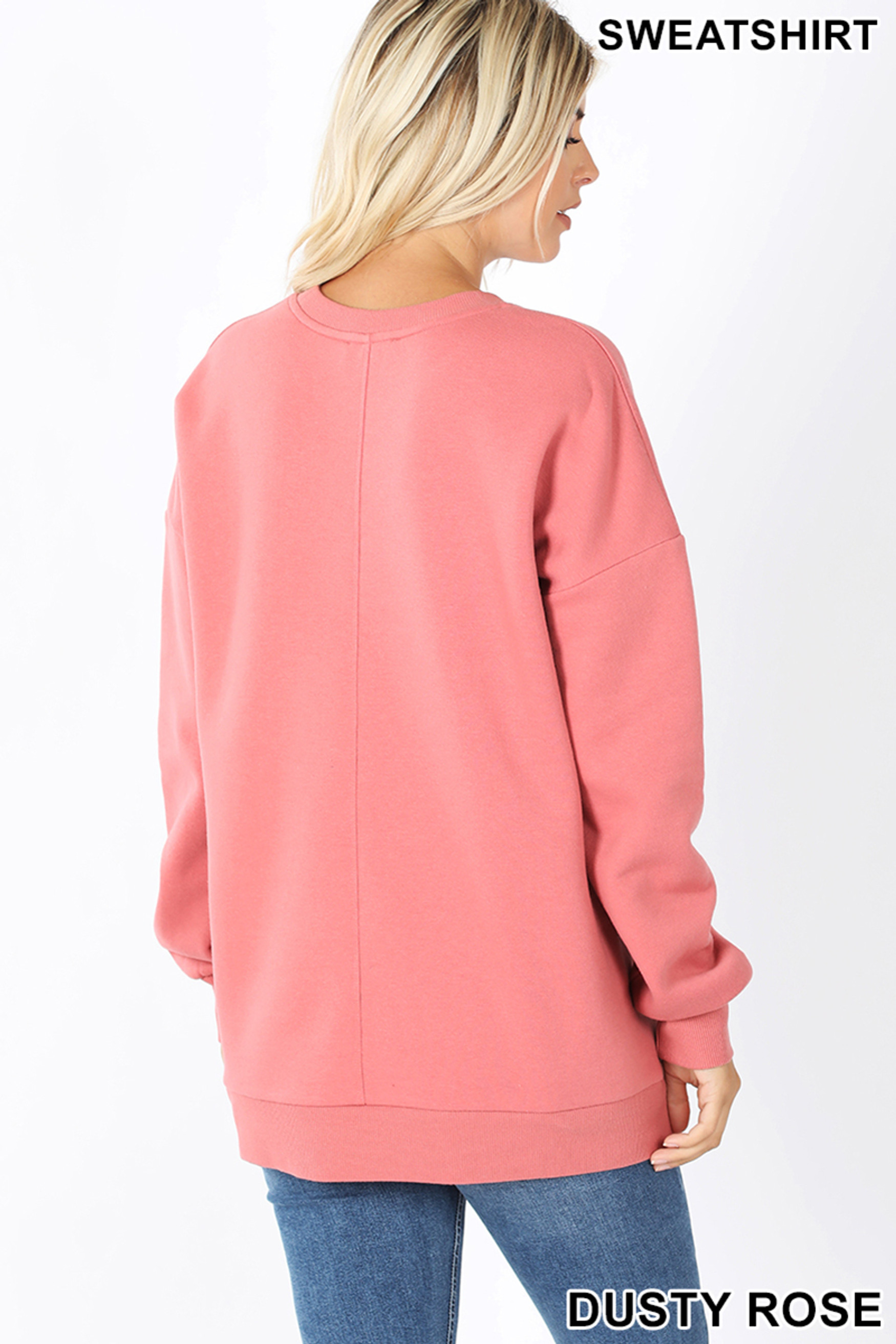 Back image of Dusty Rose Round Crew Neck Sweatshirt with Side Pockets