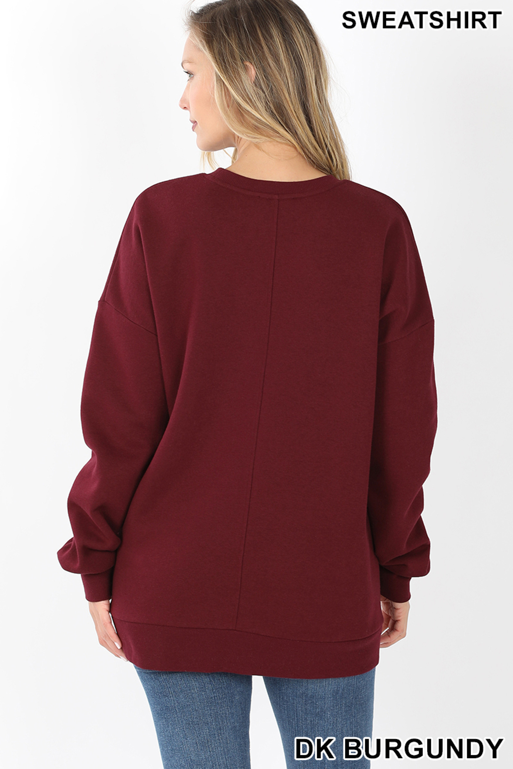 Back image of Dark Burgundy Round Crew Neck Sweatshirt with Side Pockets