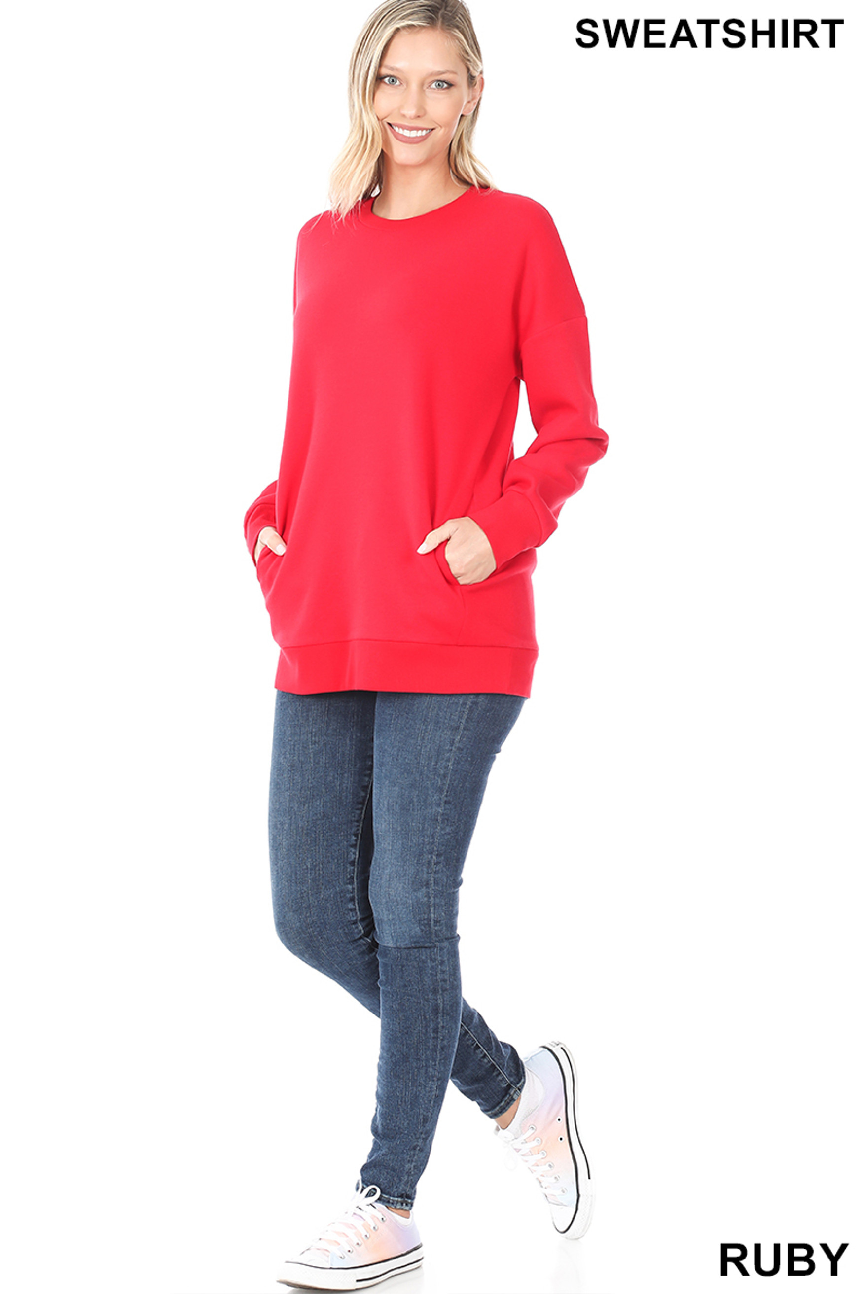 Full body image of Ruby Round Crew Neck Sweatshirt with Side Pockets