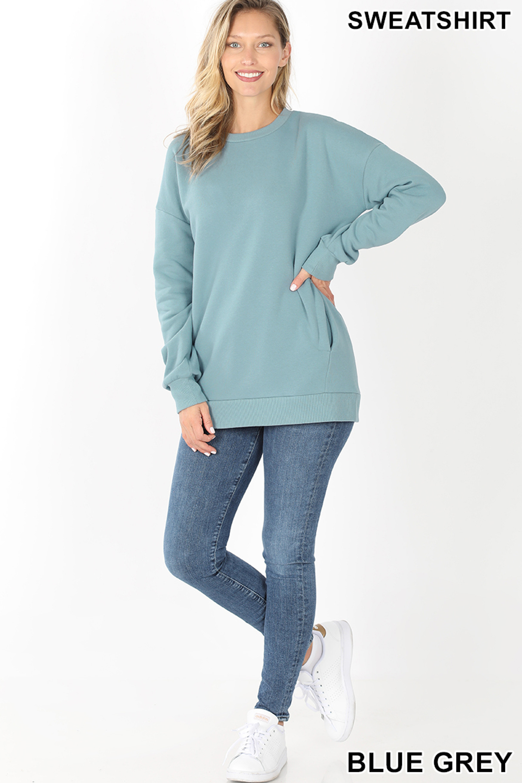 Full body image of Blue Grey Round Crew Neck Sweatshirt with Side Pockets
