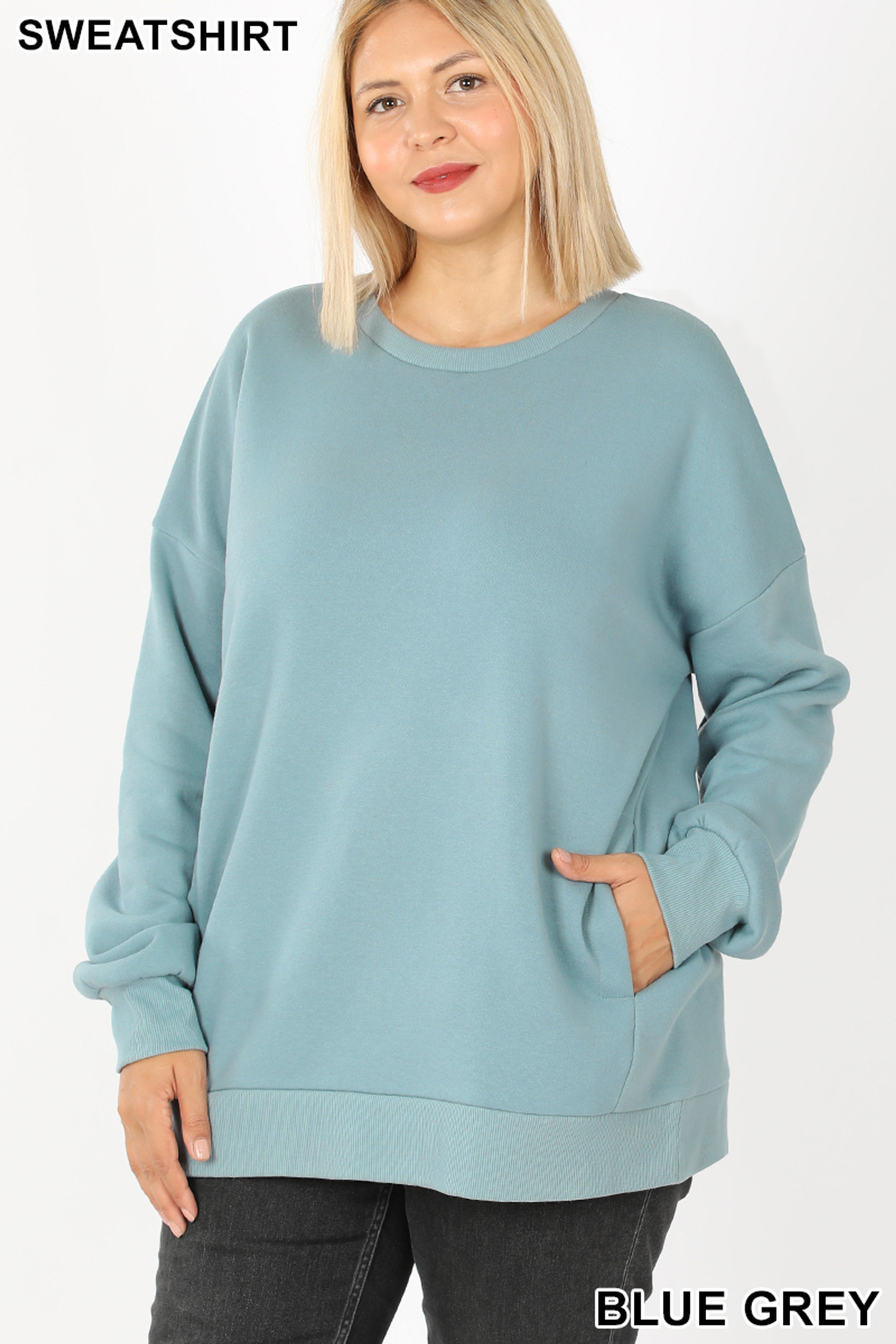 Front image of Blue Grey Cotton Round Crew Neck Plus Size Sweatshirt with Side Pockets