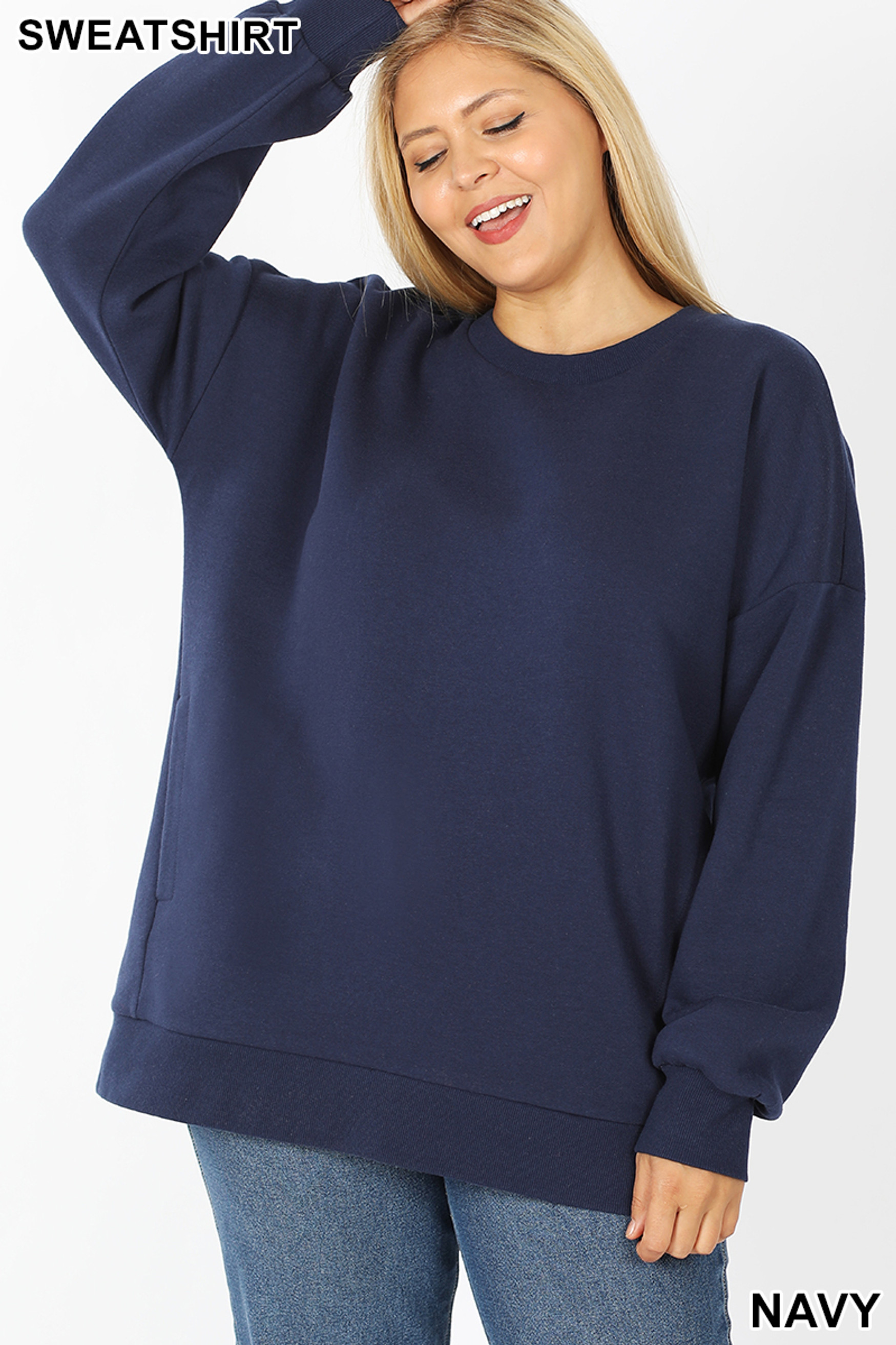 Front image of Navy Cotton Round Crew Neck Plus Size Sweatshirt with Side Pockets