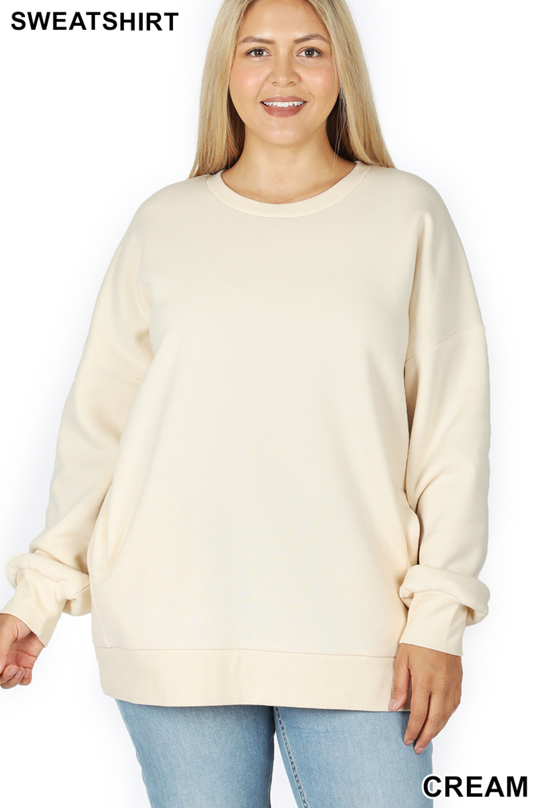 Front image of Cream Cotton Round Crew Neck Plus Size Sweatshirt with Side Pockets