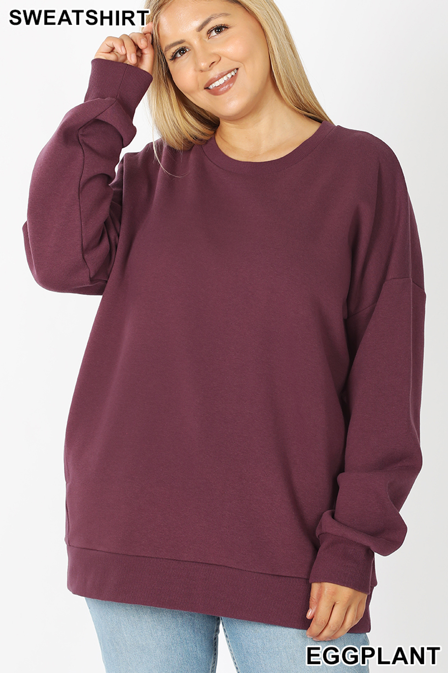 Front image of Eggplant Cotton Round Crew Neck Plus Size Sweatshirt with Side Pockets