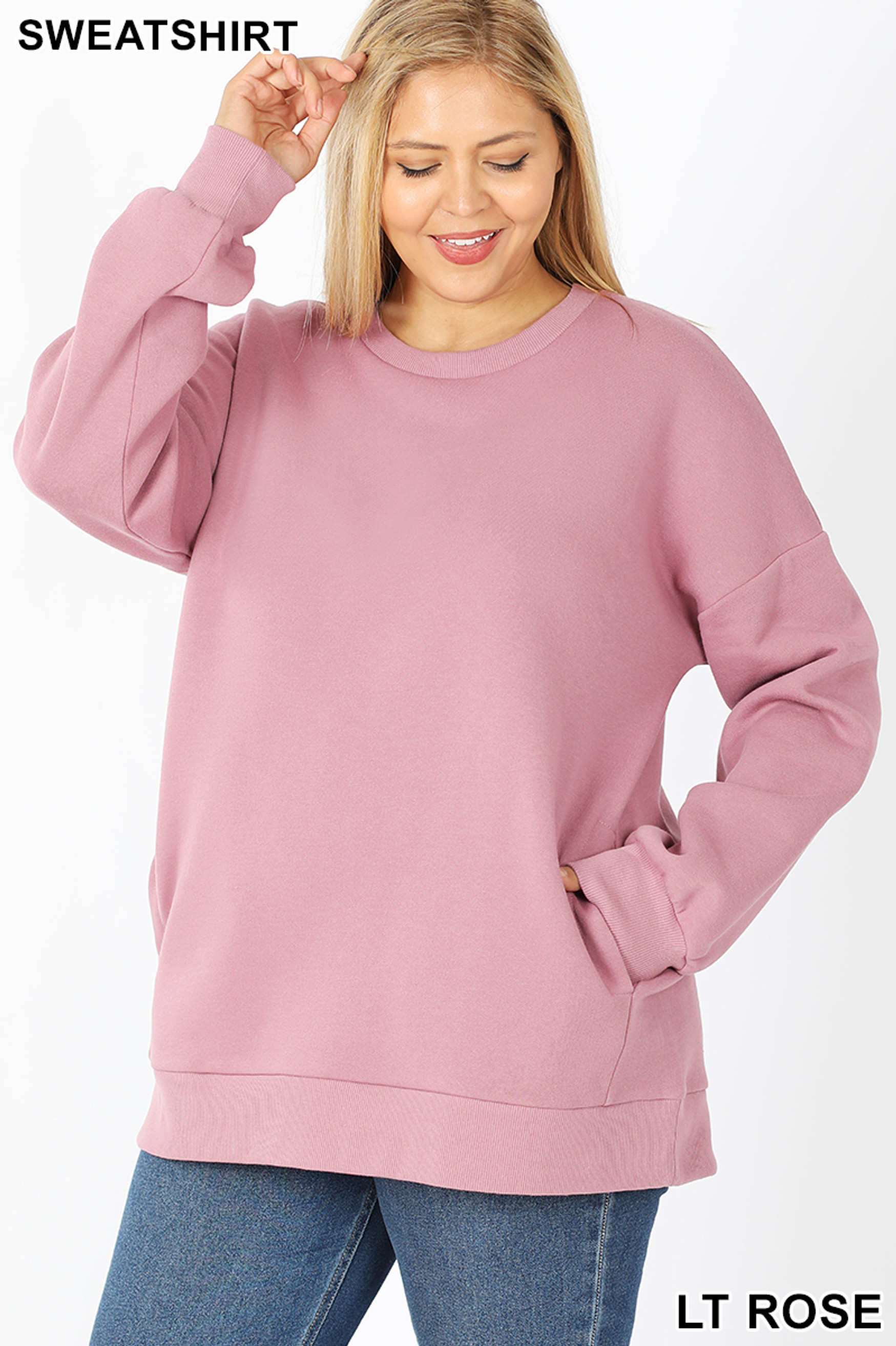 Front image of Light Rose Cotton Round Crew Neck Plus Size Sweatshirt with Side Pockets