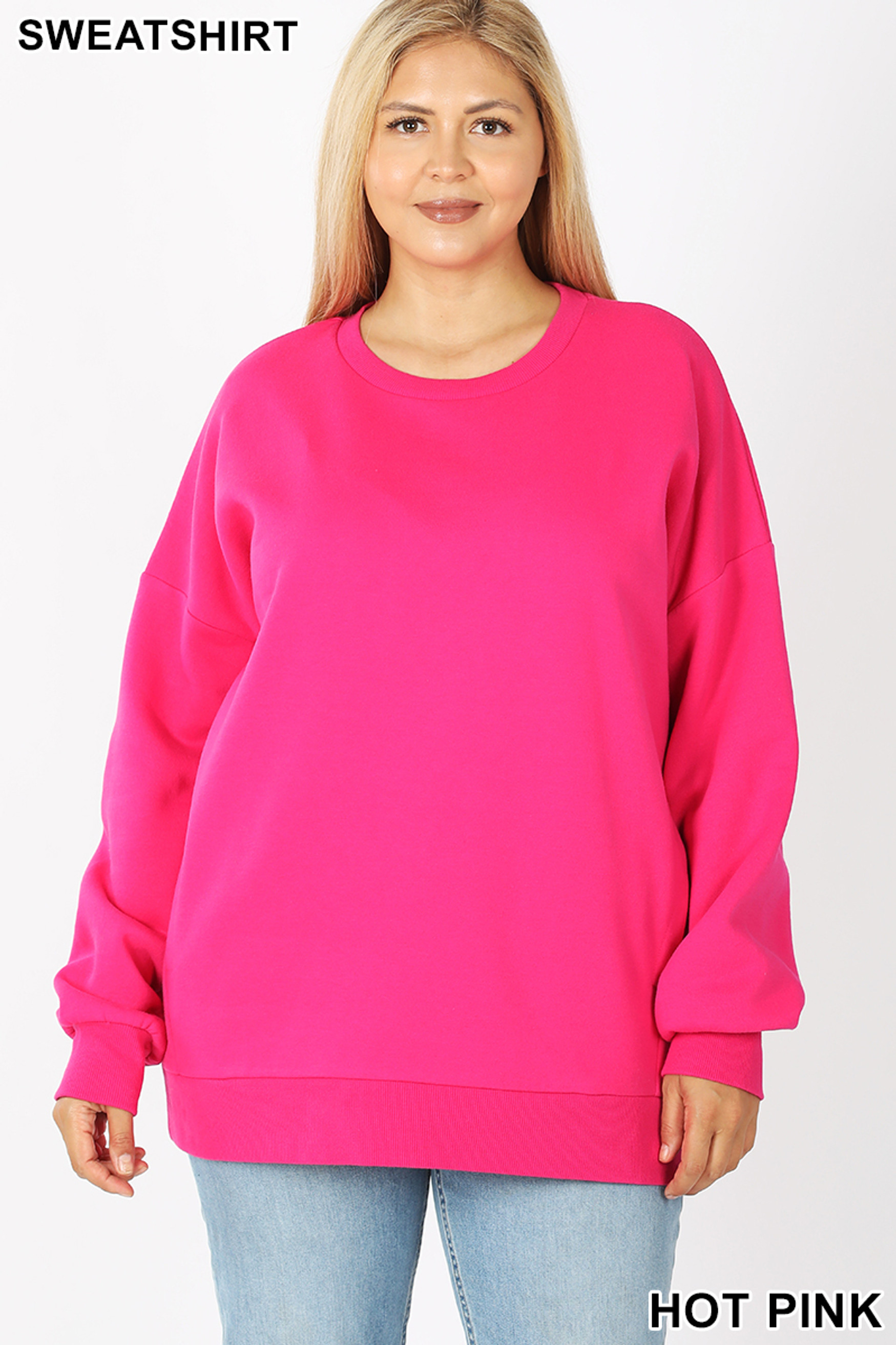 Front image of Hot Pink Cotton Round Crew Neck Plus Size Sweatshirt with Side Pockets