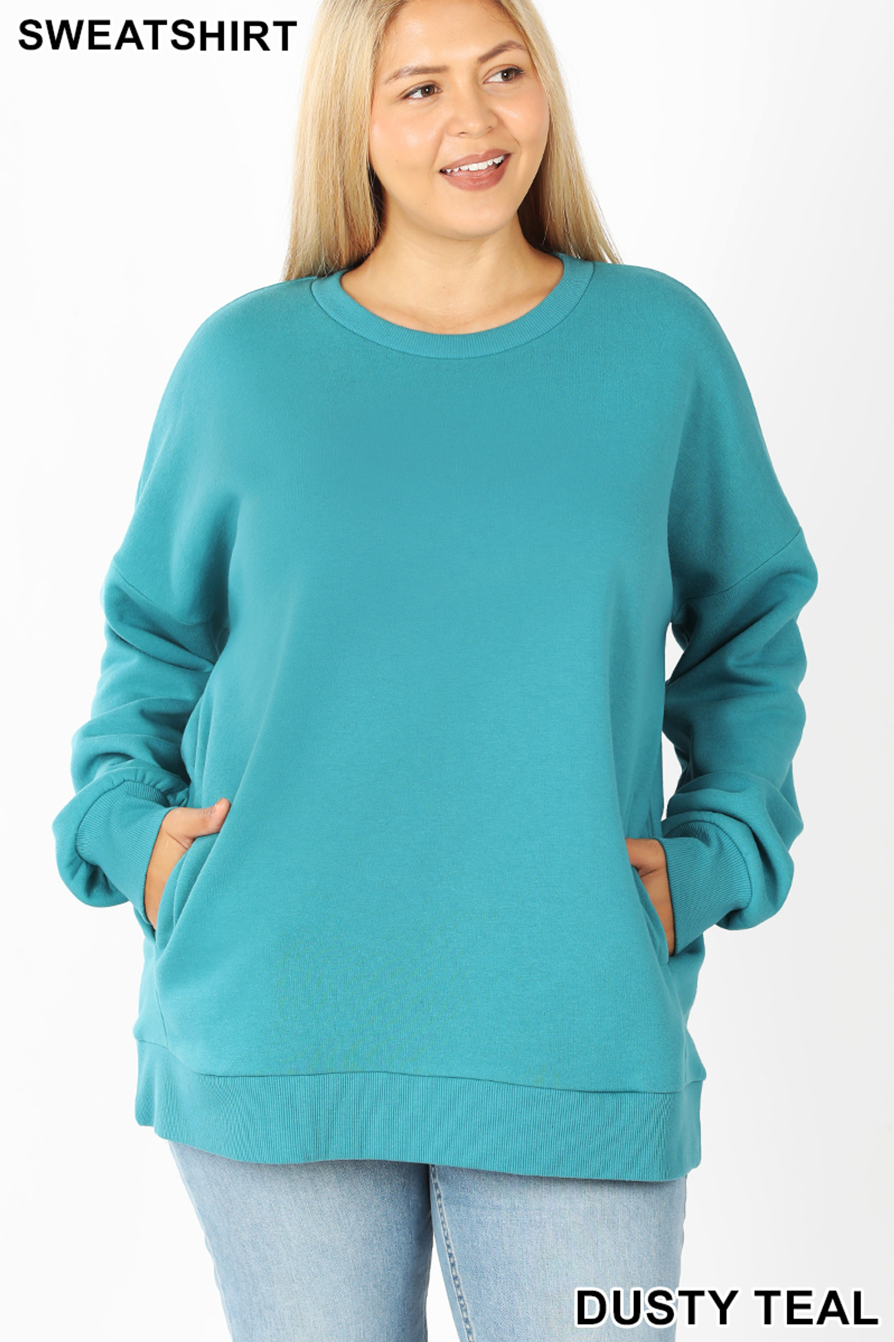 Front image of Dusty Teal Cotton Round Crew Neck Plus Size Sweatshirt with Side Pockets