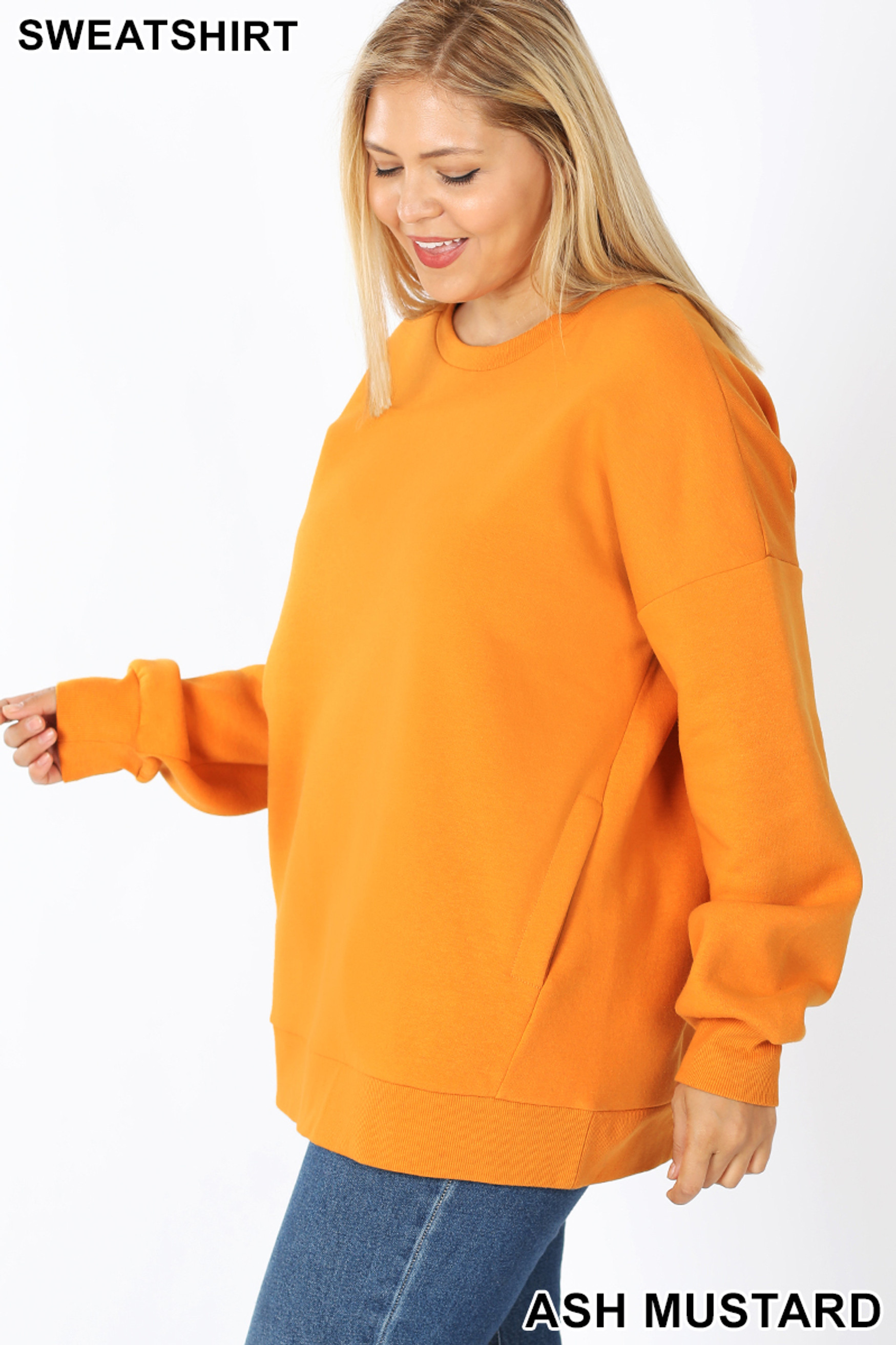 Left side image of Ash Mustard Cotton Round Crew Neck Plus Size Sweatshirt with Side Pockets