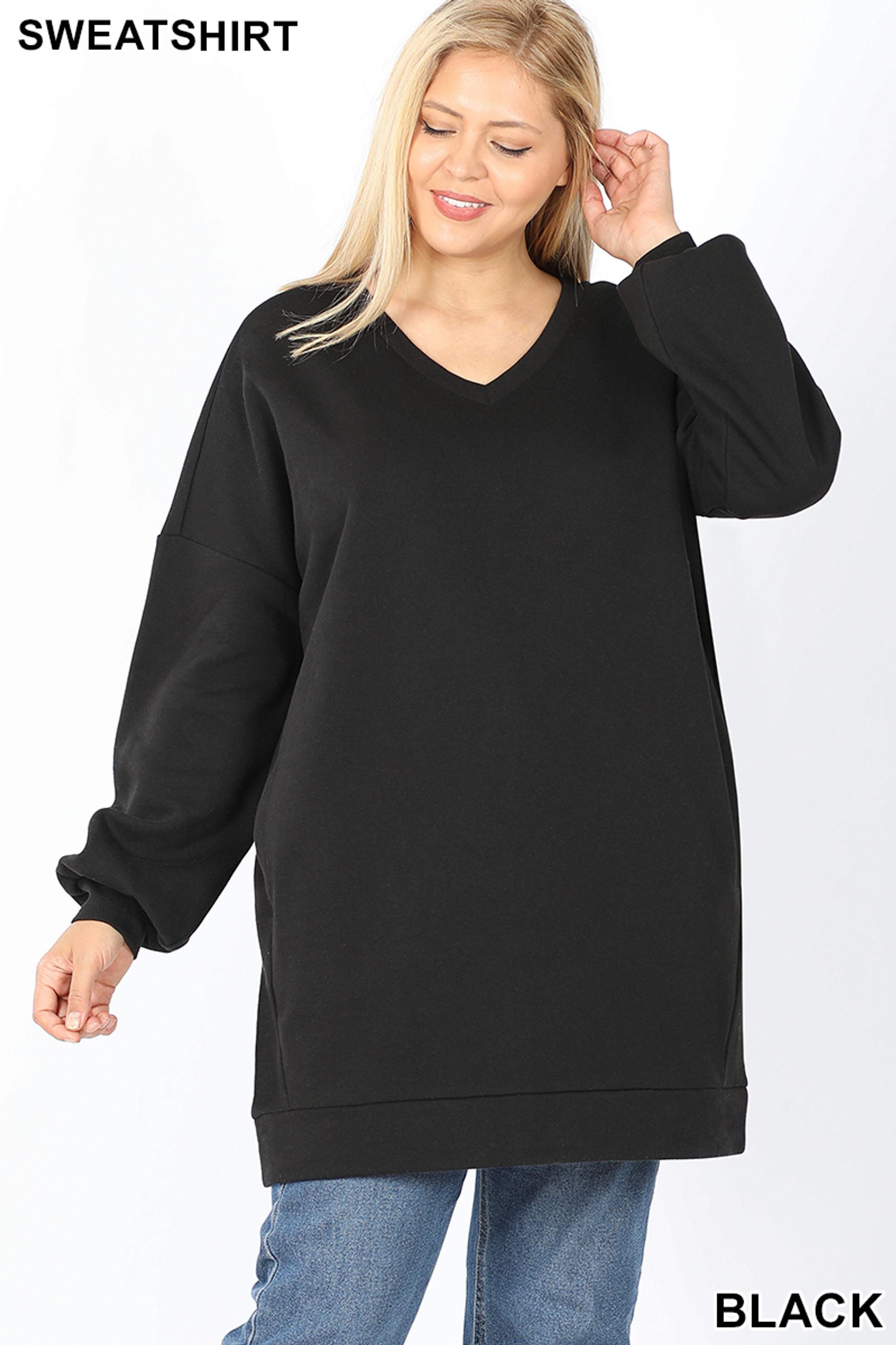Front image of Black Oversized V-Neck Longline Plus Size Sweatshirt with Pockets