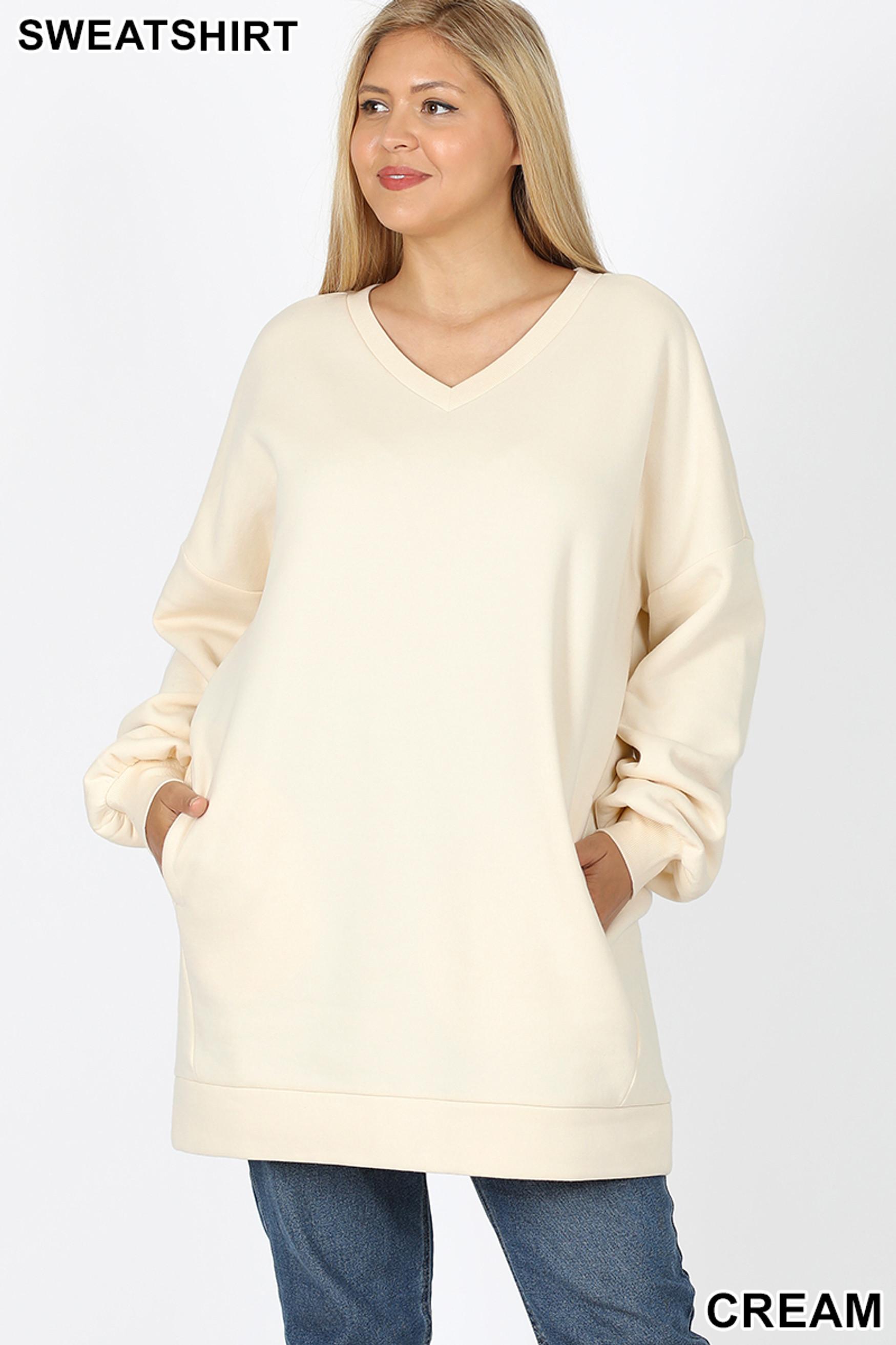 Front image of Cream Oversized V-Neck Longline Plus Size Sweatshirt with Pockets