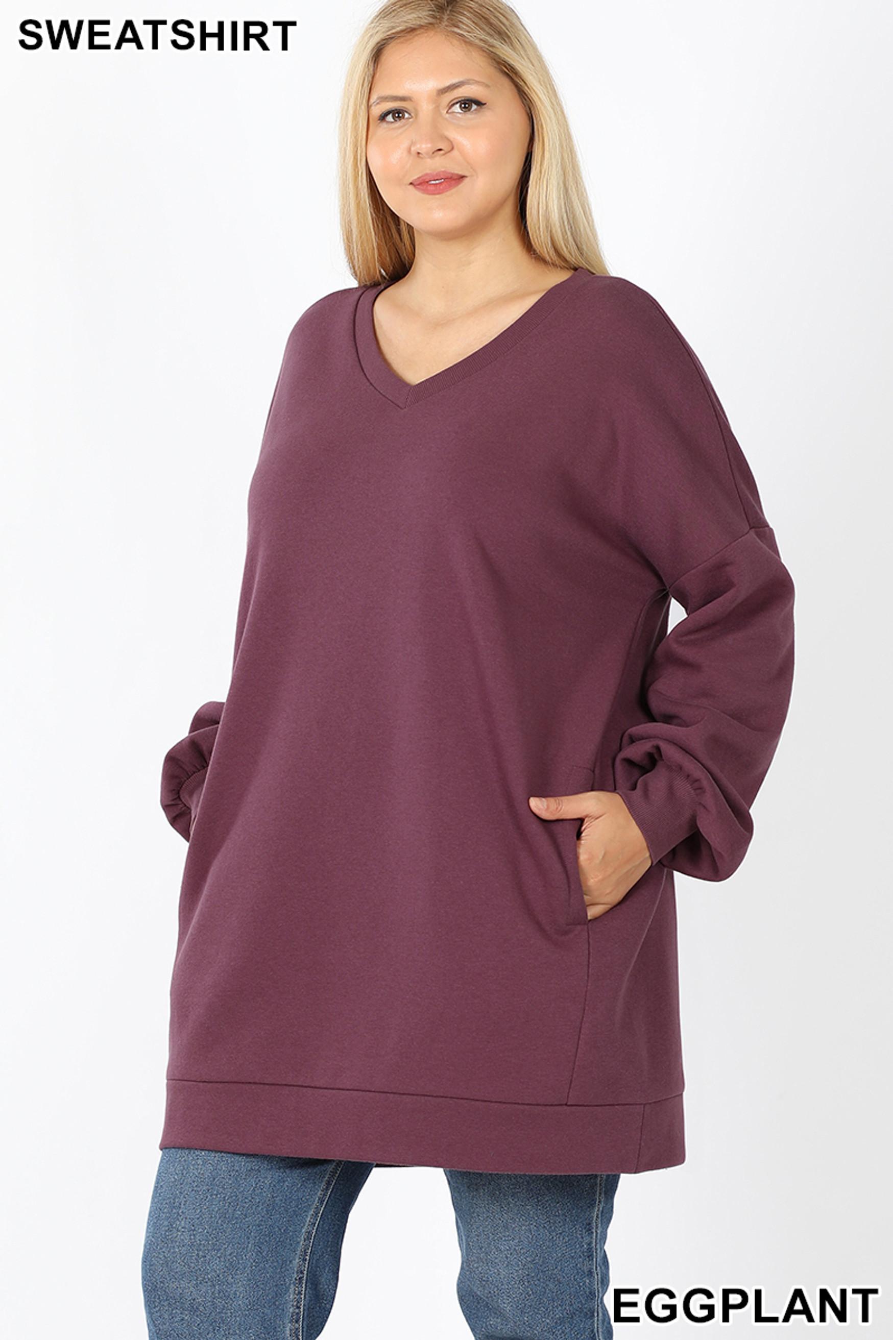 Front image of Eggplant Oversized V-Neck Longline Plus Size Sweatshirt with Pockets
