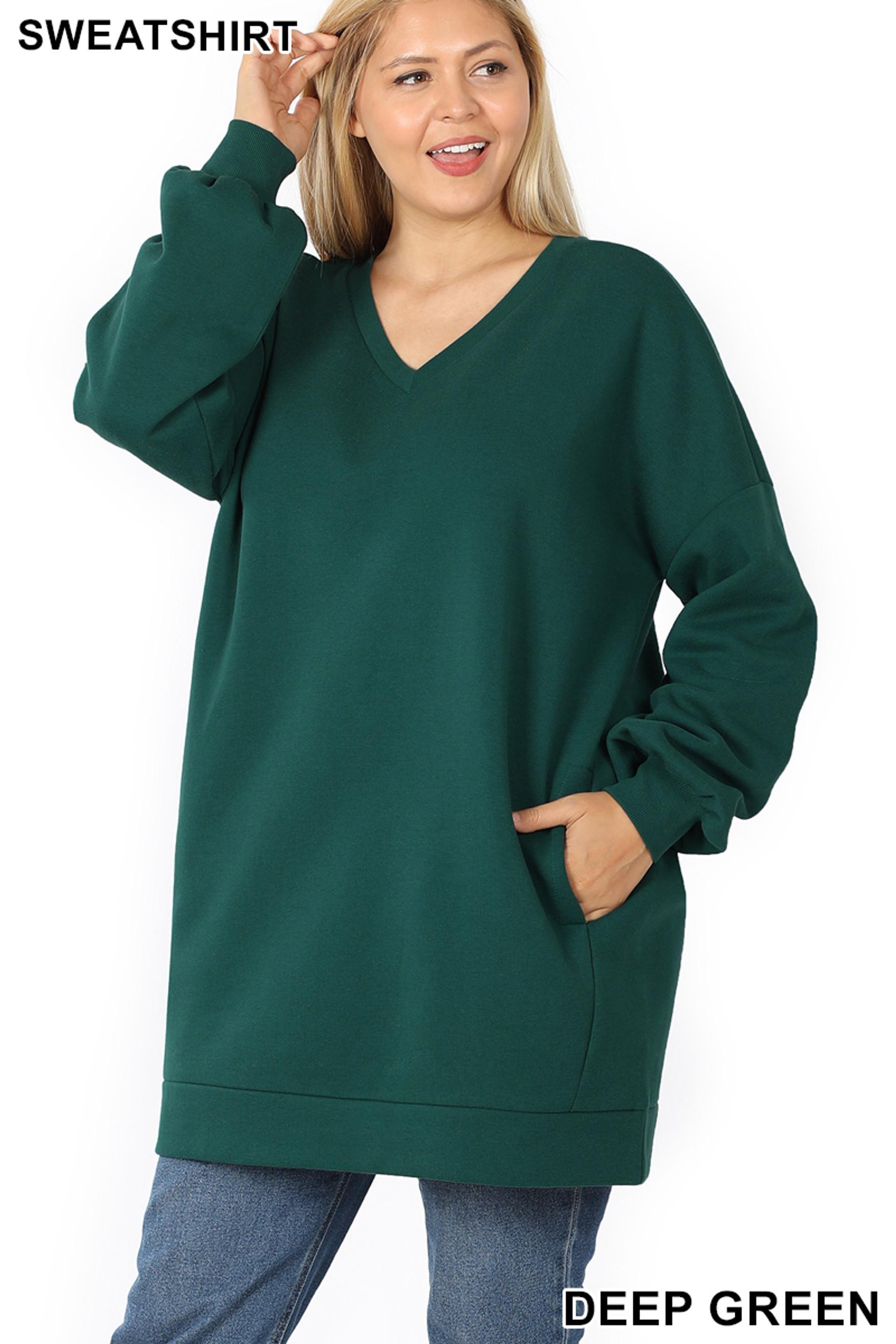 Front image of Deep Green Oversized V-Neck Longline Plus Size Sweatshirt with Pockets