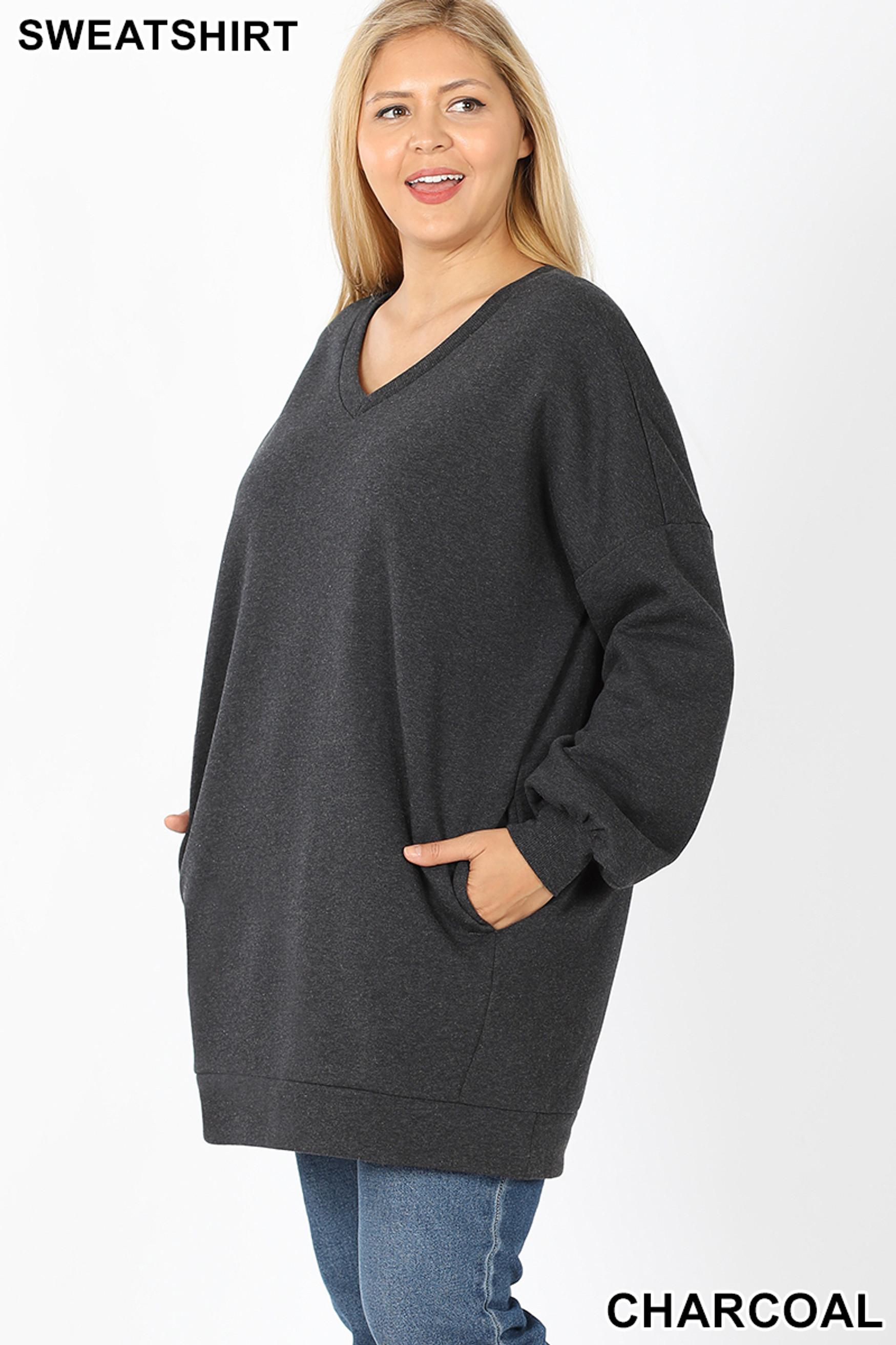 45 degree image of Charcoal Oversized V-Neck Longline Plus Size Sweatshirt with Pockets