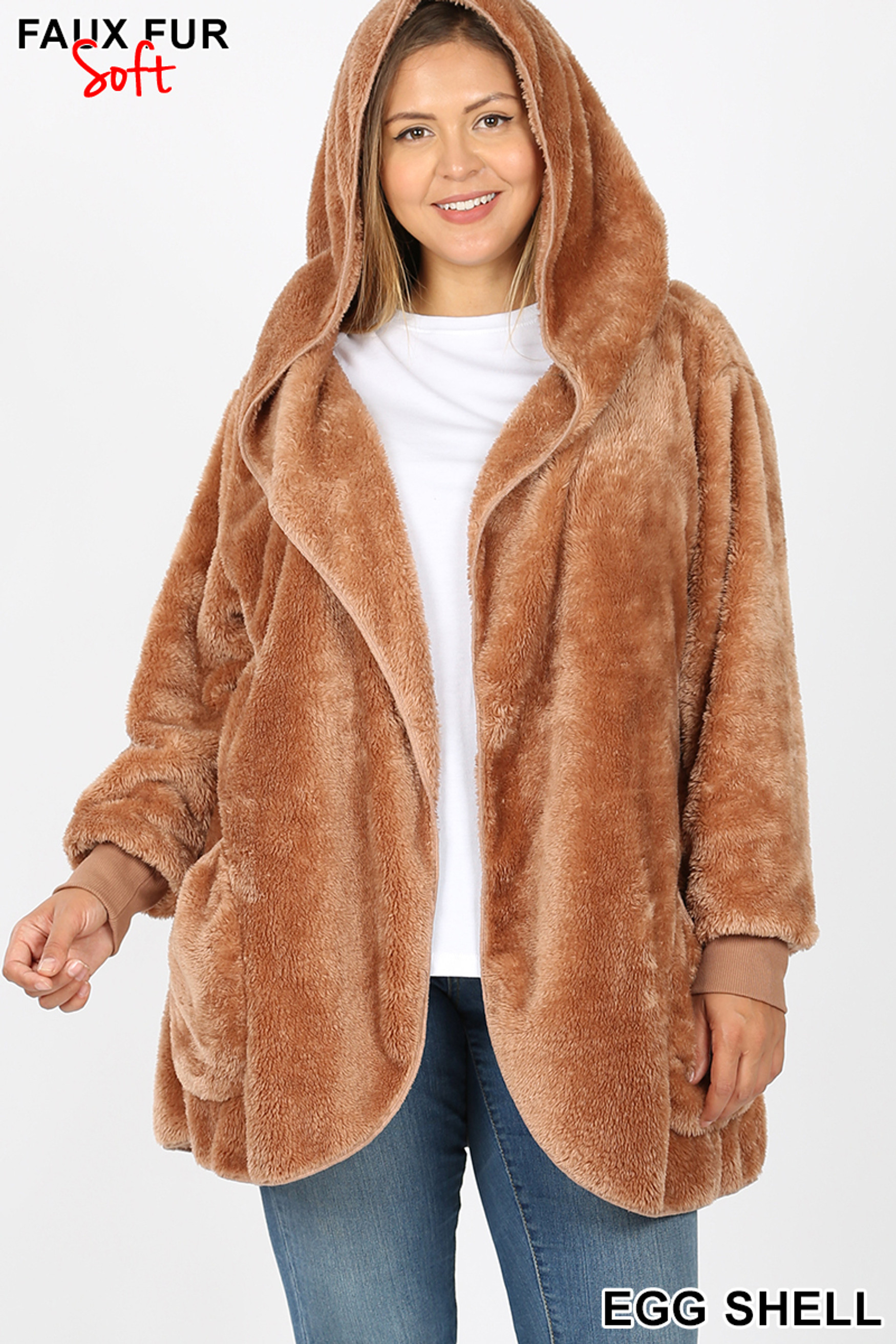 Front Image of Eggshell Faux Fur Hooded Cocoon Plus Size Jacket with Pockets