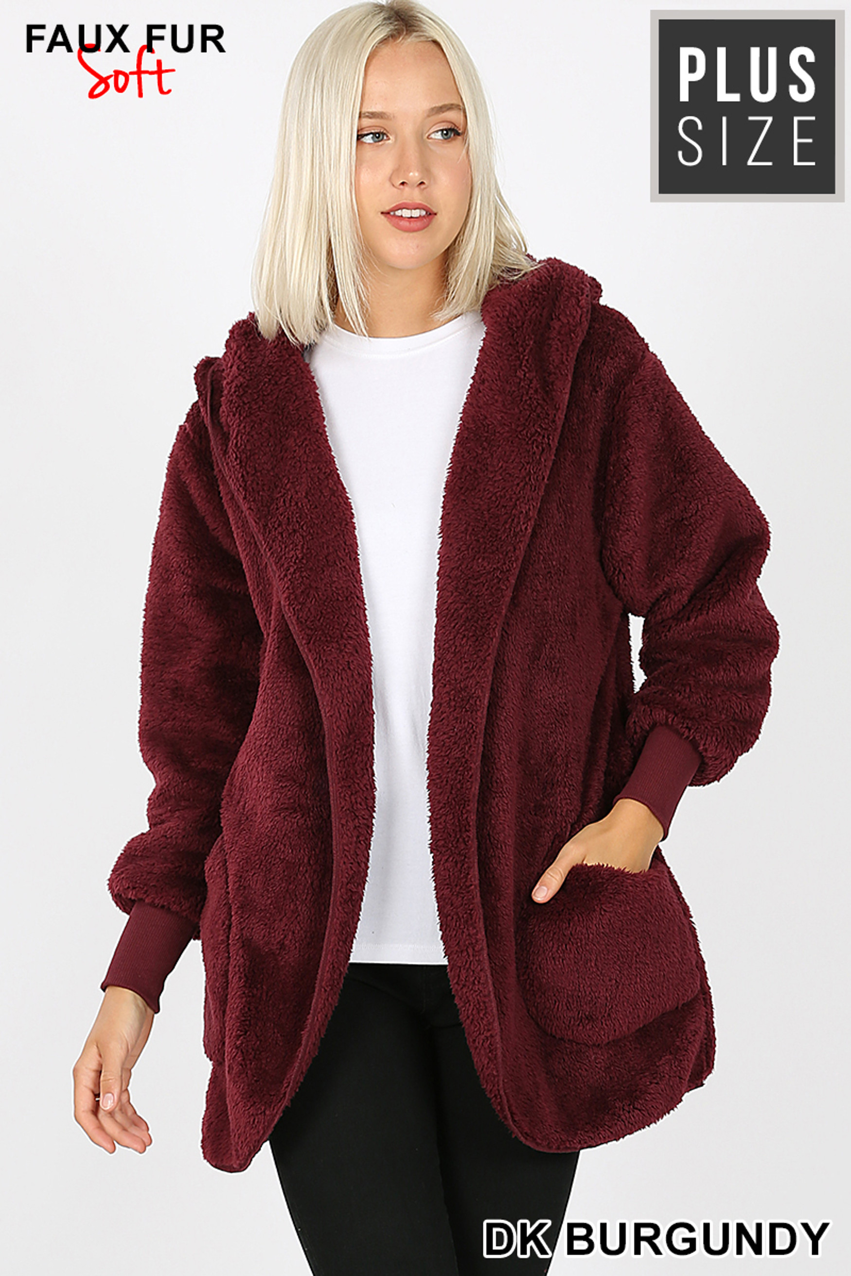 Front Image of Burgundy Faux Fur Hooded Cocoon Plus Size Jacket with Pockets