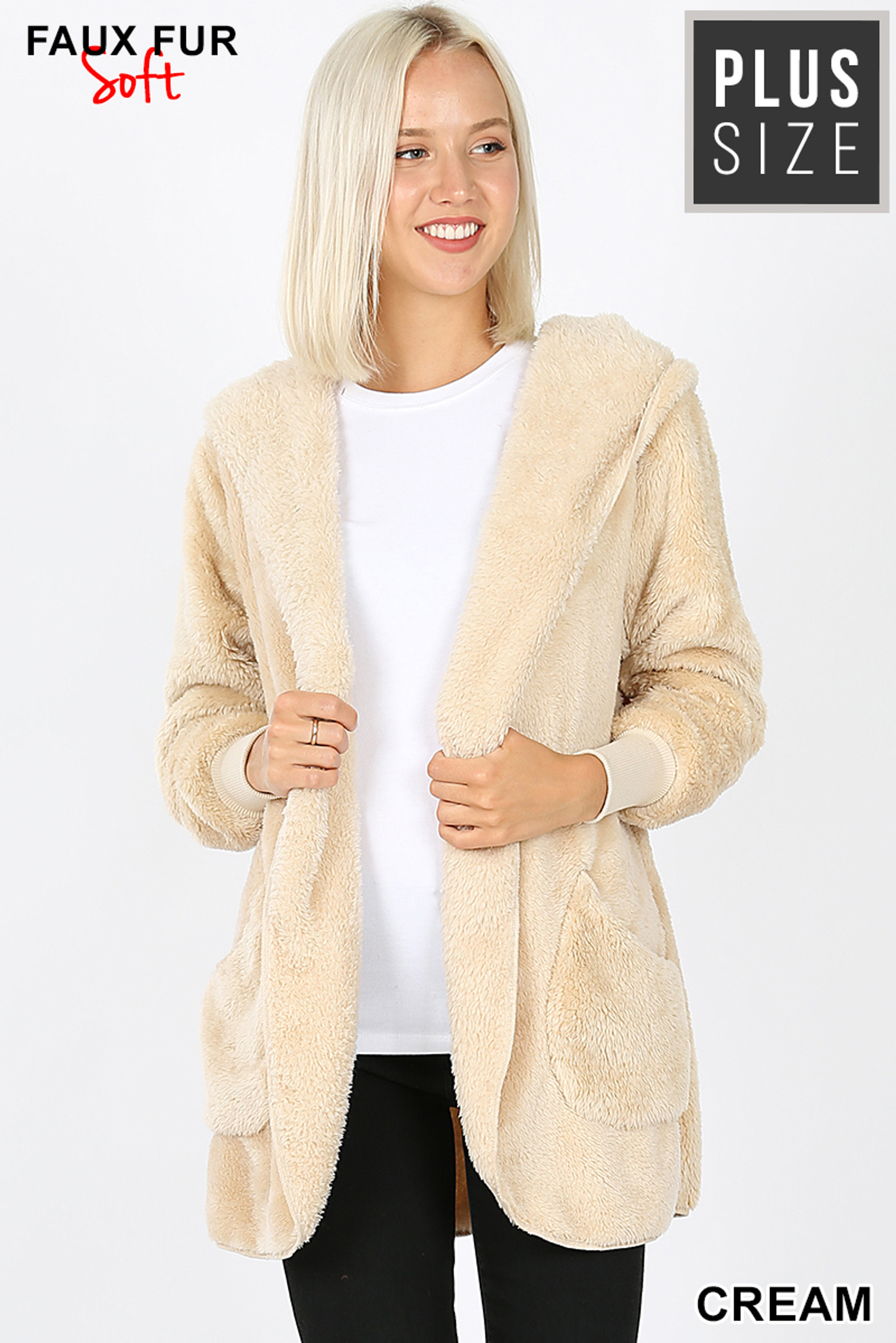 Front Image of Cream Faux Fur Hooded Cocoon Plus Size Jacket with Pockets