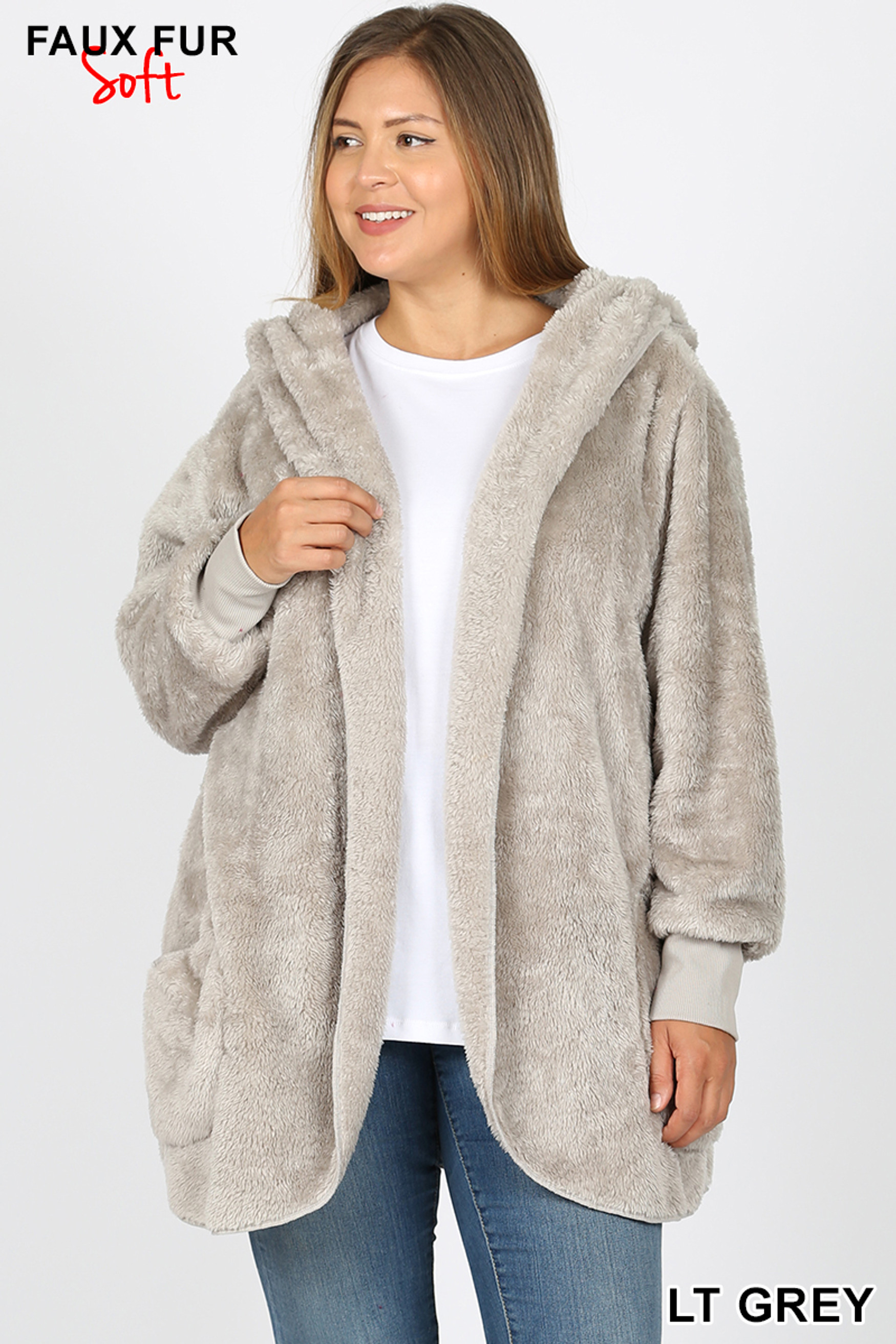 Front Image of Light Grey Faux Fur Hooded Cocoon Plus Size Jacket with Pockets
