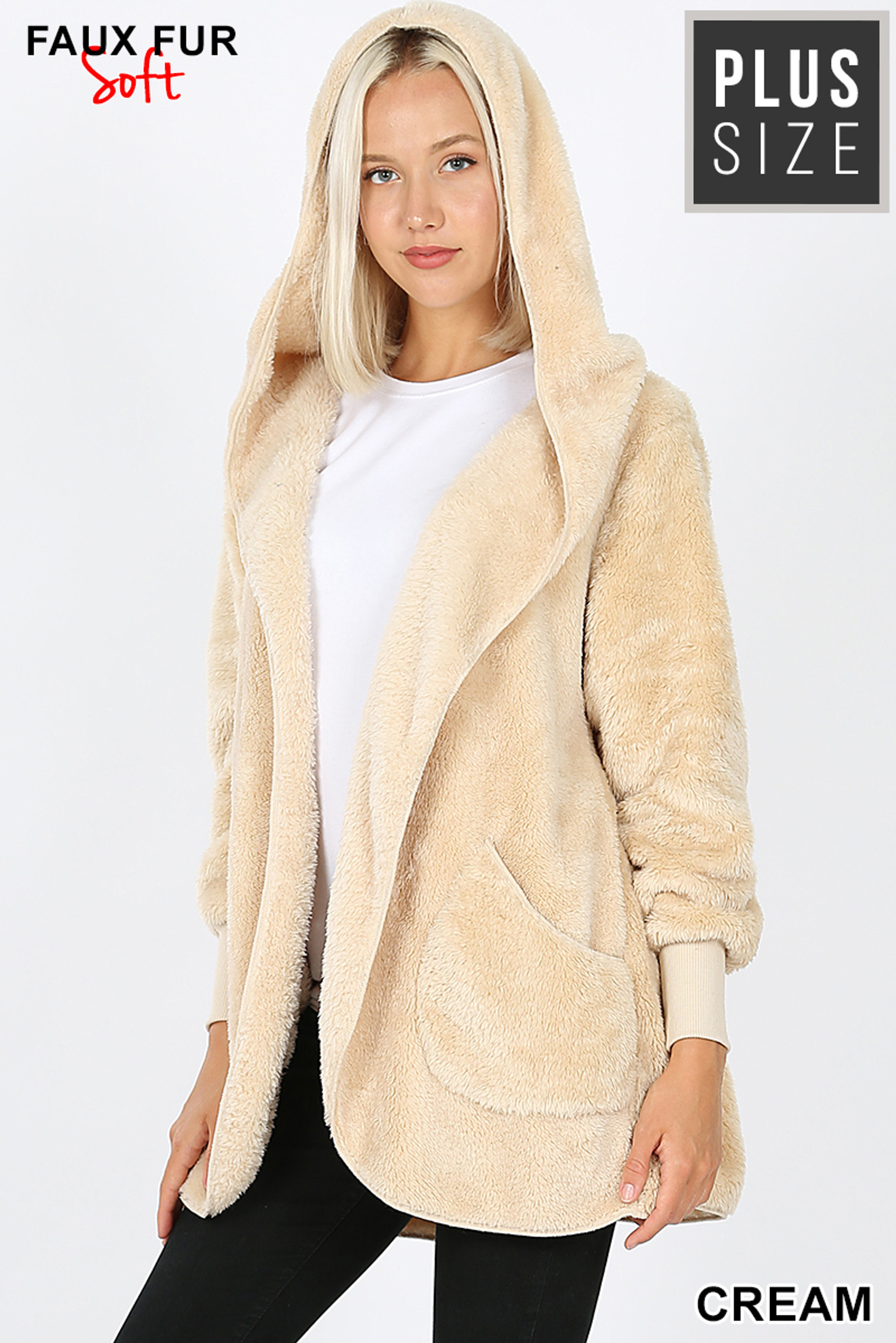Front Image of Cream Faux Fur Hooded Cocoon Plus Size Jacket with Pockets showing hood up