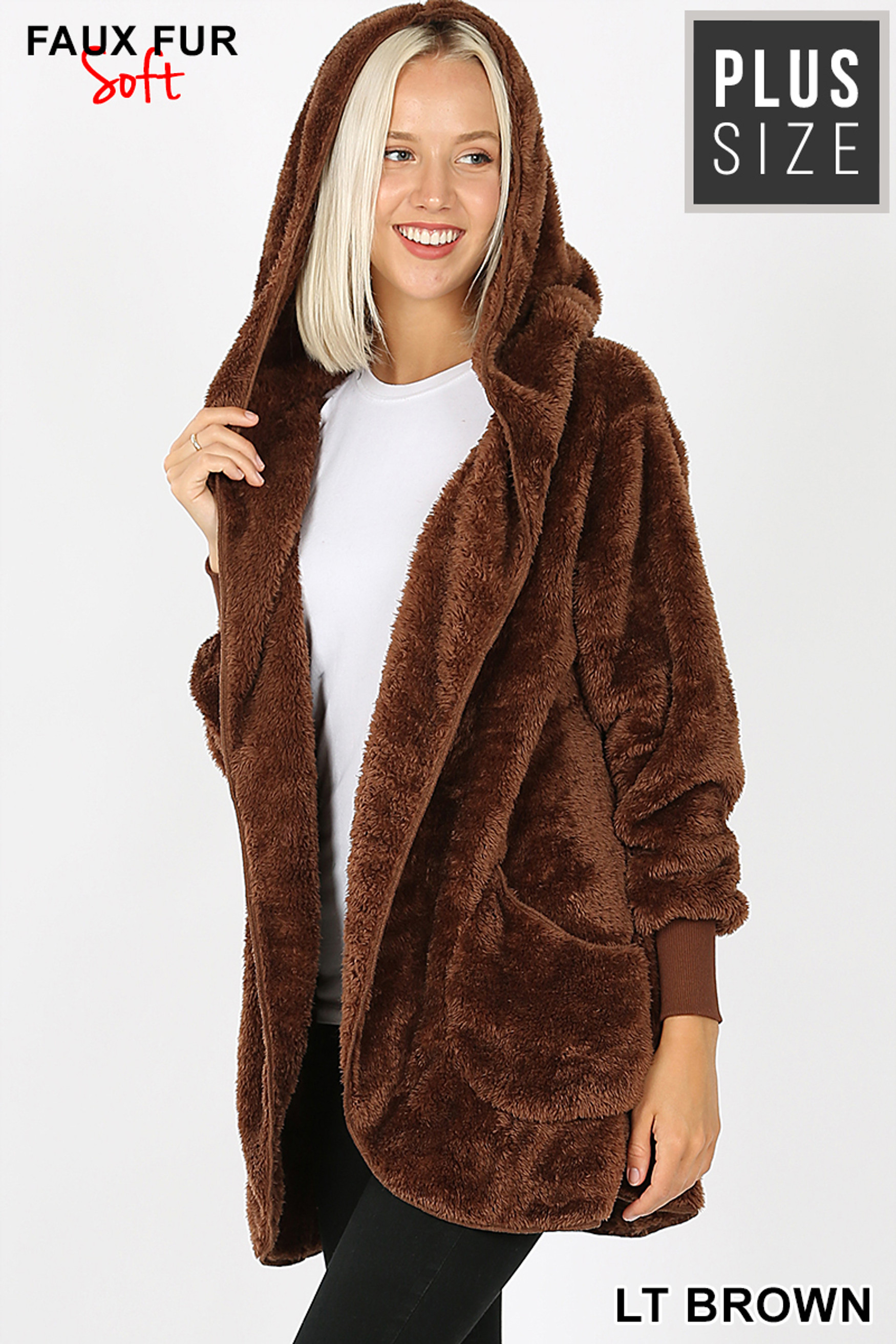 Slightly turned Image of Light Brown Faux Fur Hooded Cocoon Plus Size Jacket with Pockets showing hood up
