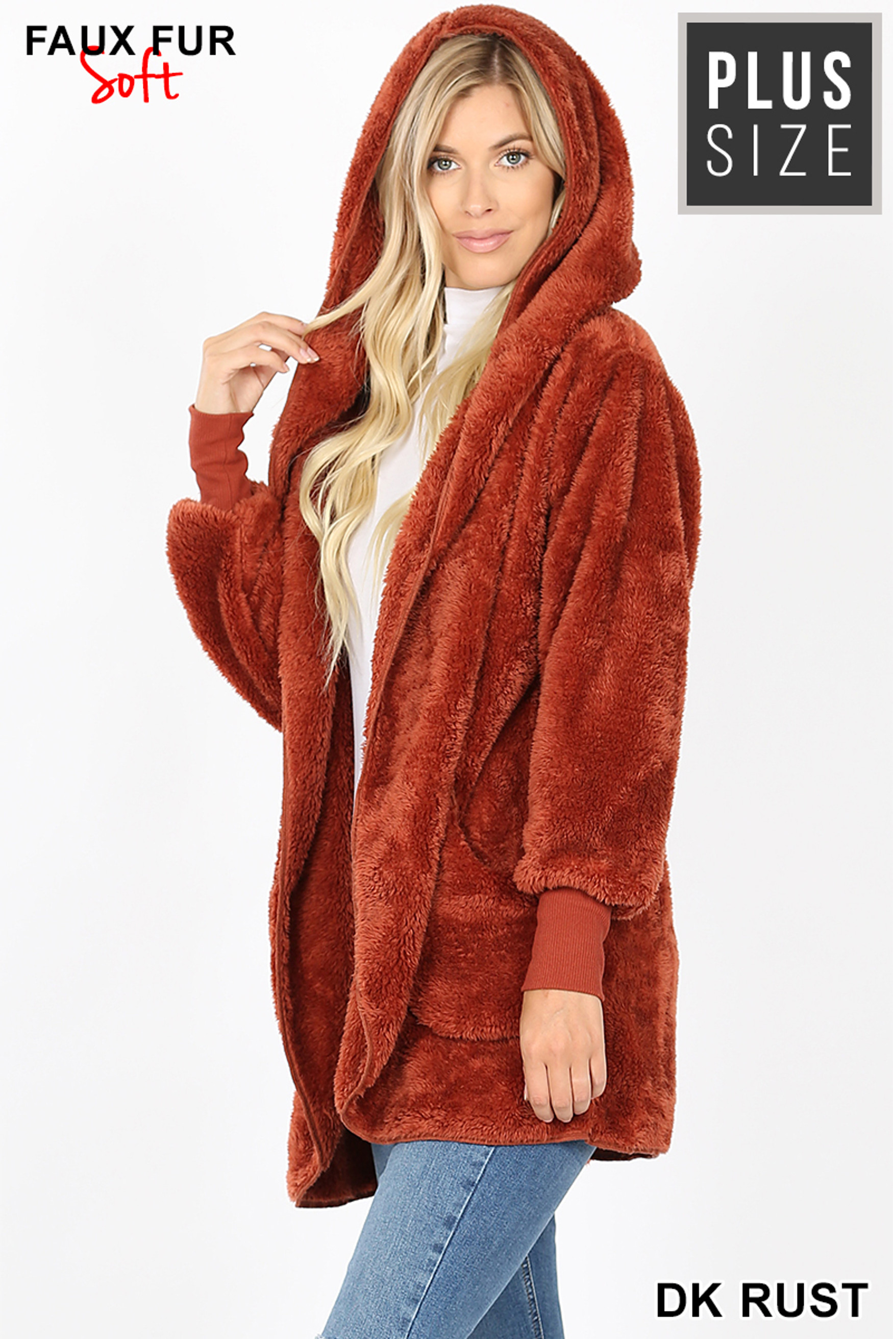 Left side image of Dark Rust Faux Fur Hooded Cocoon Plus Size Jacket with Pockets