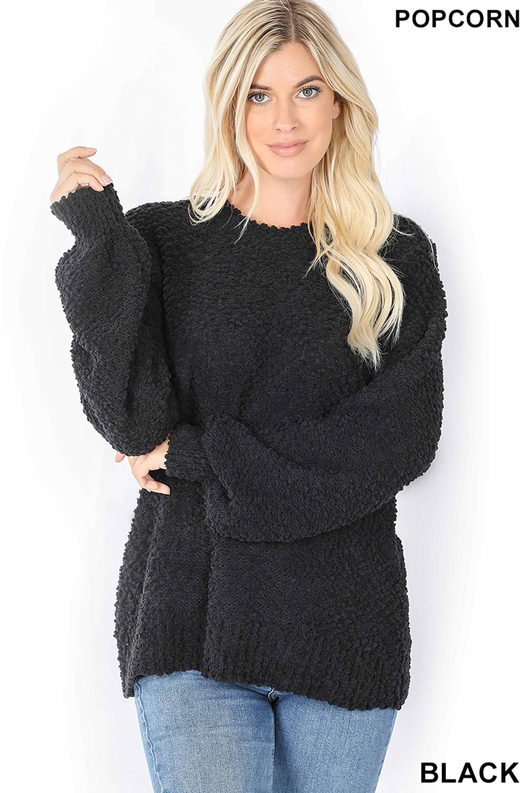 Front image of Black Popcorn Balloon Sleeve Round Neck Pullover Sweater
