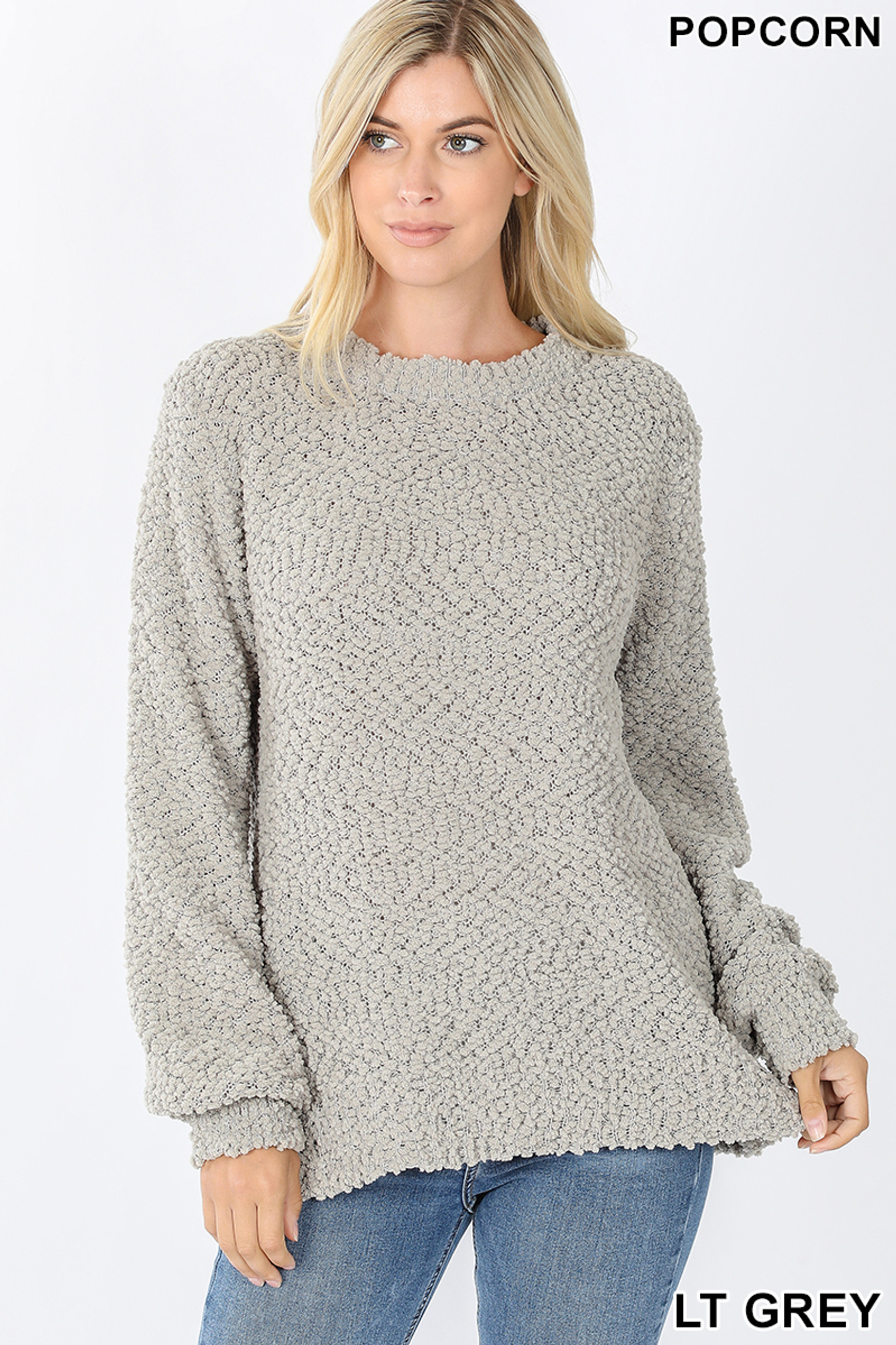Front image of Light Grey Popcorn Balloon Sleeve Round Neck Pullover Sweater