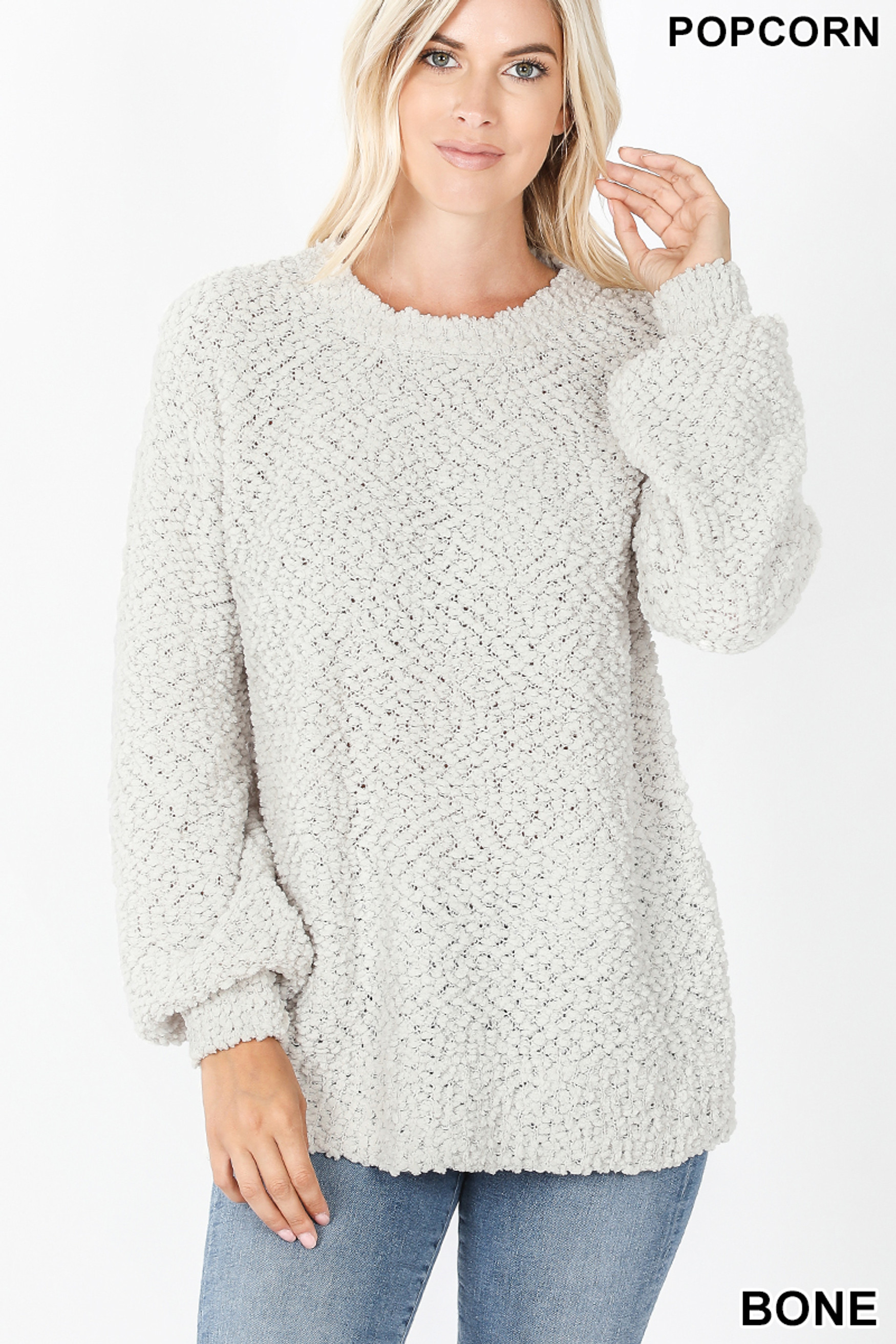 Front image of Bone Popcorn Balloon Sleeve Round Neck Pullover Sweater