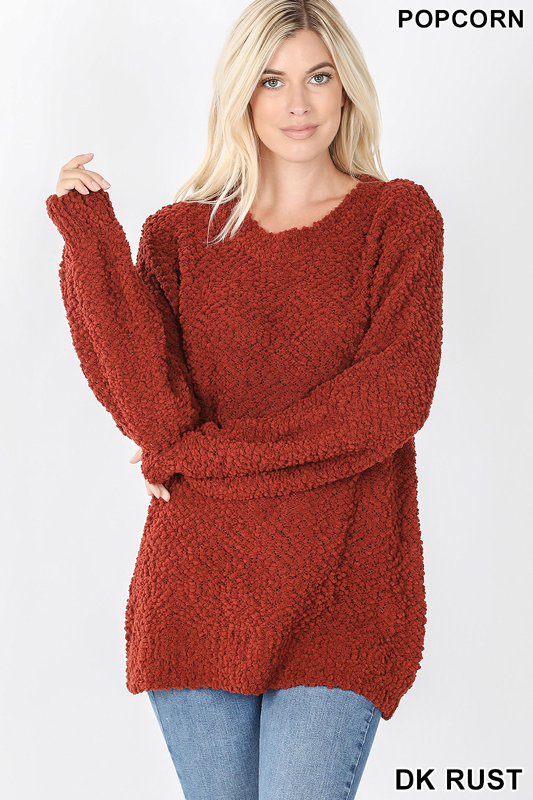 Front image of Dark Rust Popcorn Balloon Sleeve Round Neck Pullover Sweater