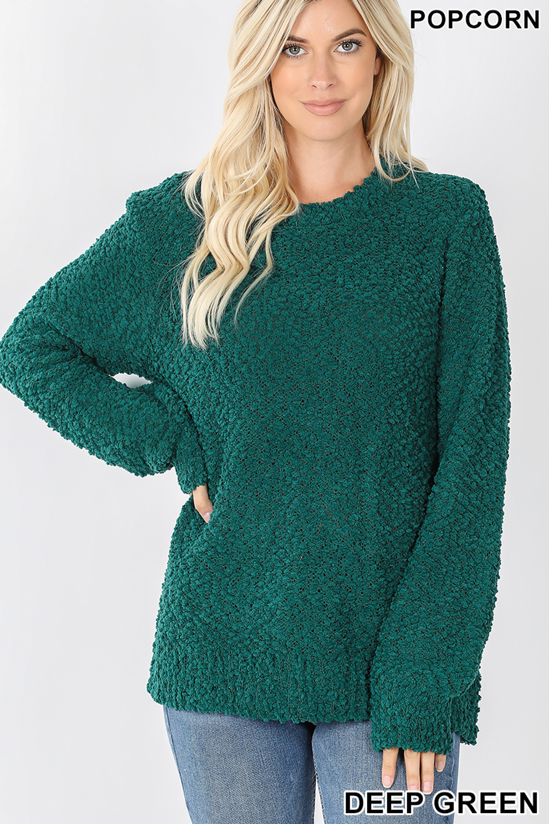 Front image of Deep Green Popcorn Balloon Sleeve Round Neck Pullover Sweater