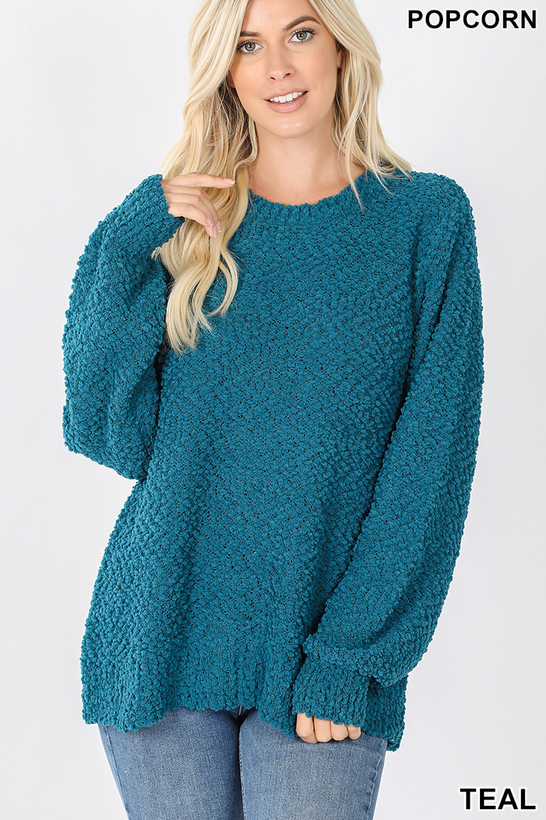 Front image of Teal Popcorn Balloon Sleeve Round Neck Pullover Sweater